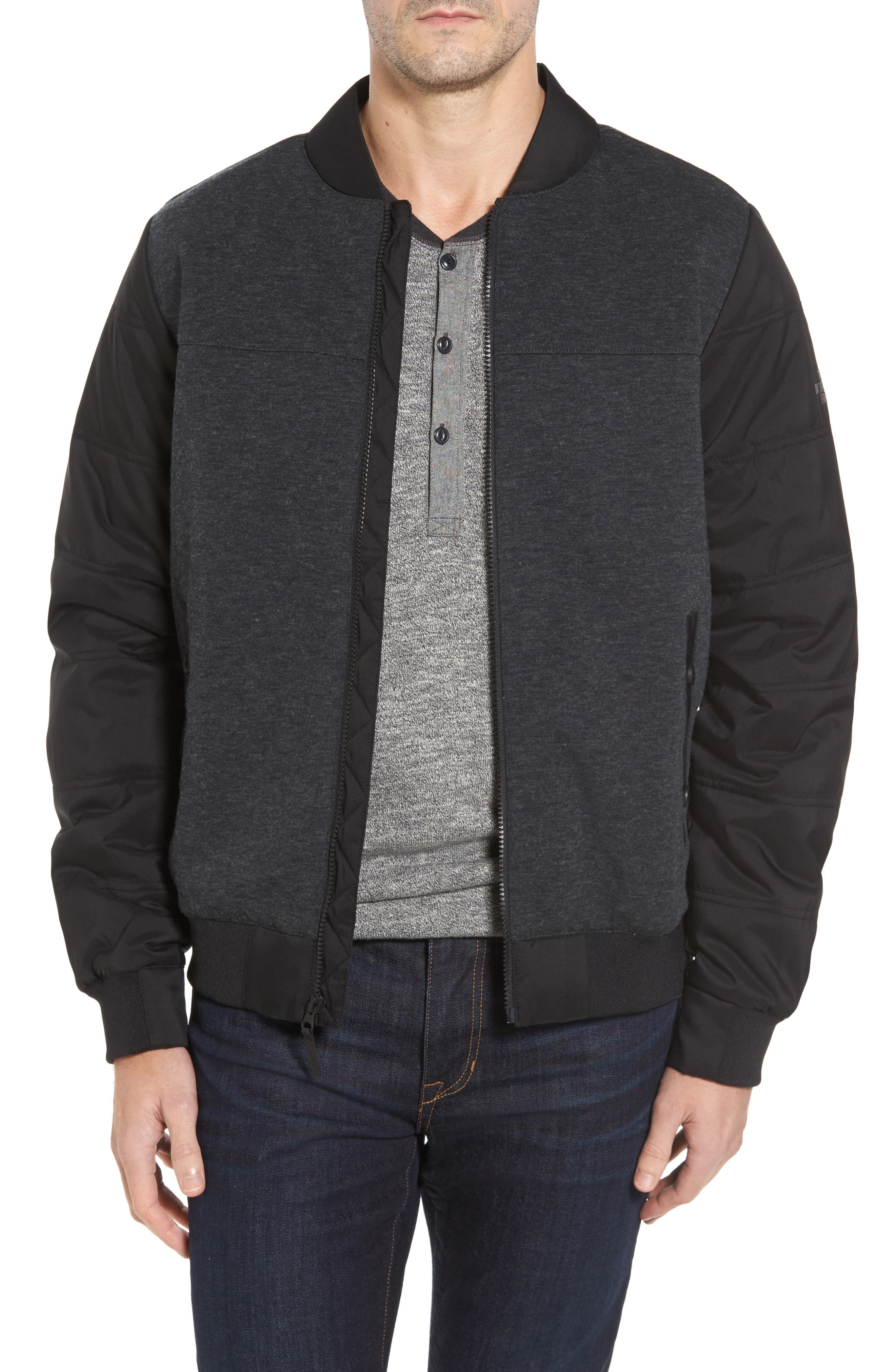 Far Northern Hybrid Bomber Jacket,                             Main thumbnail 1, color,                             DARK GREY HEATHER/ BLACK