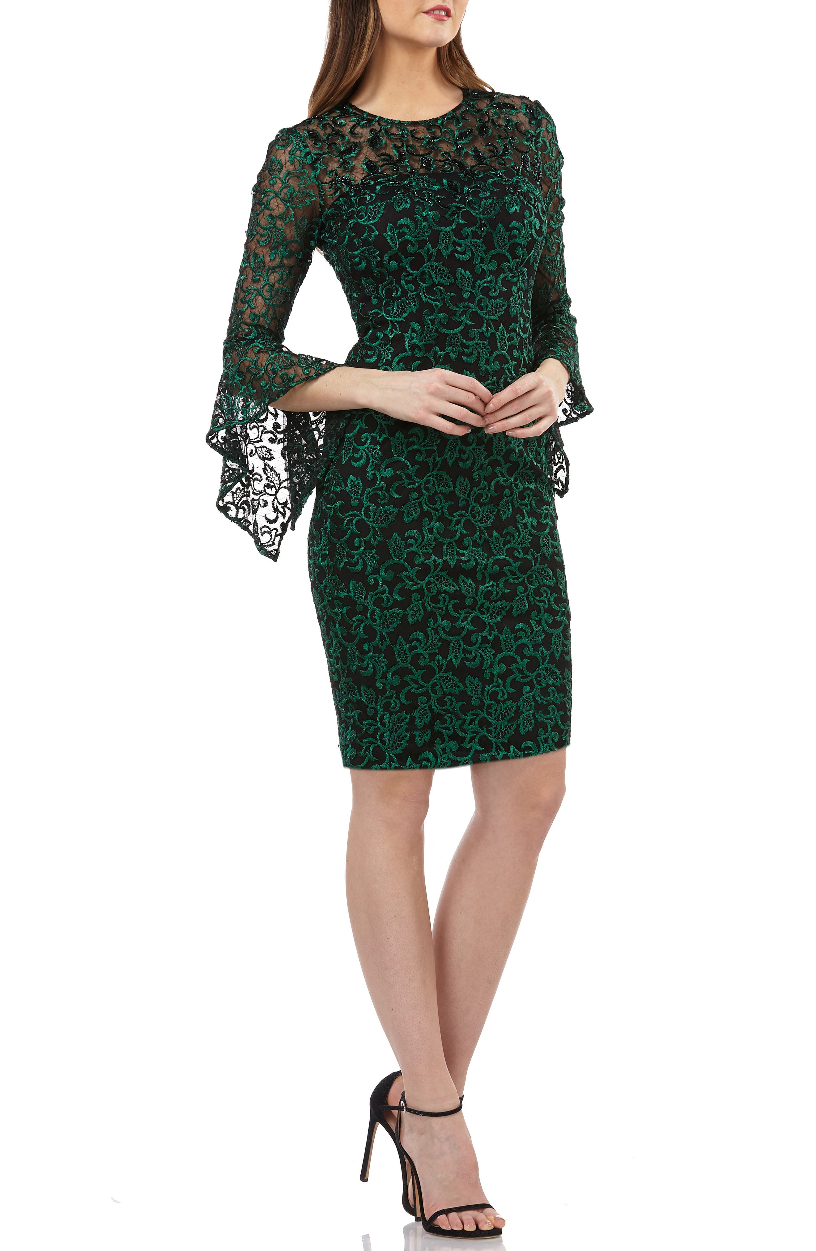 CARMEN MARC VALVO INFUSION Beaded Threadwork Cocktail Dress in Green/ Black