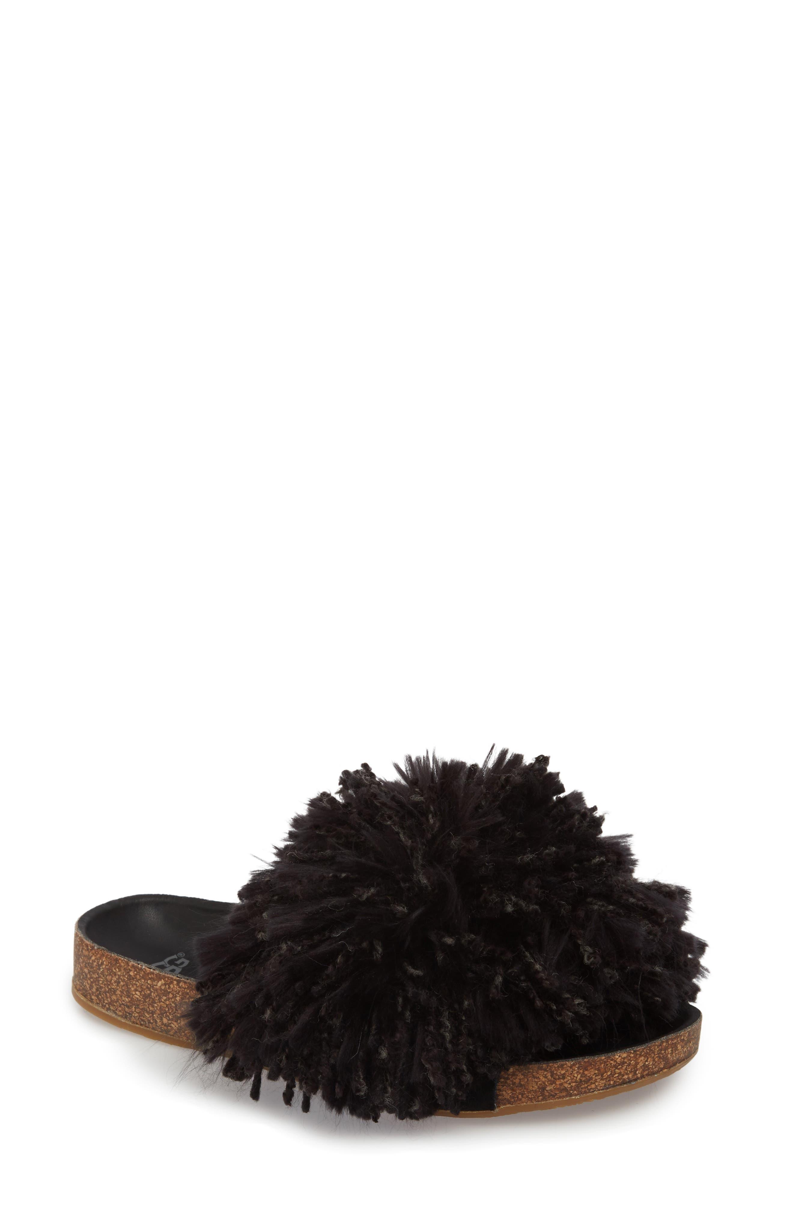 Cindi Yarn Pom Sandal,                             Main thumbnail 1, color,                             BLACK