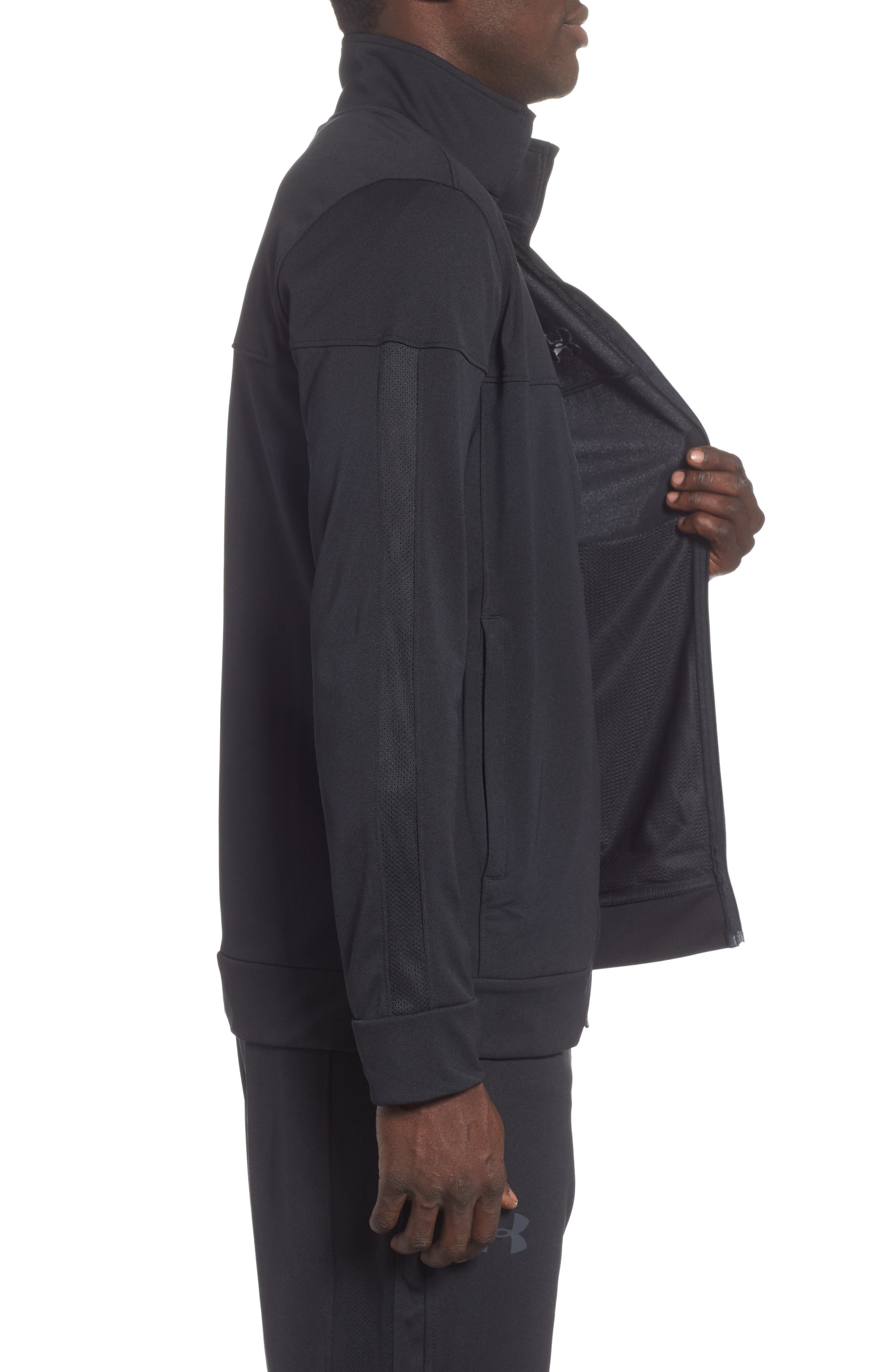 Sportstyle Piqué Track Jacket,                             Alternate thumbnail 3, color,                             BLACK / / BLACK