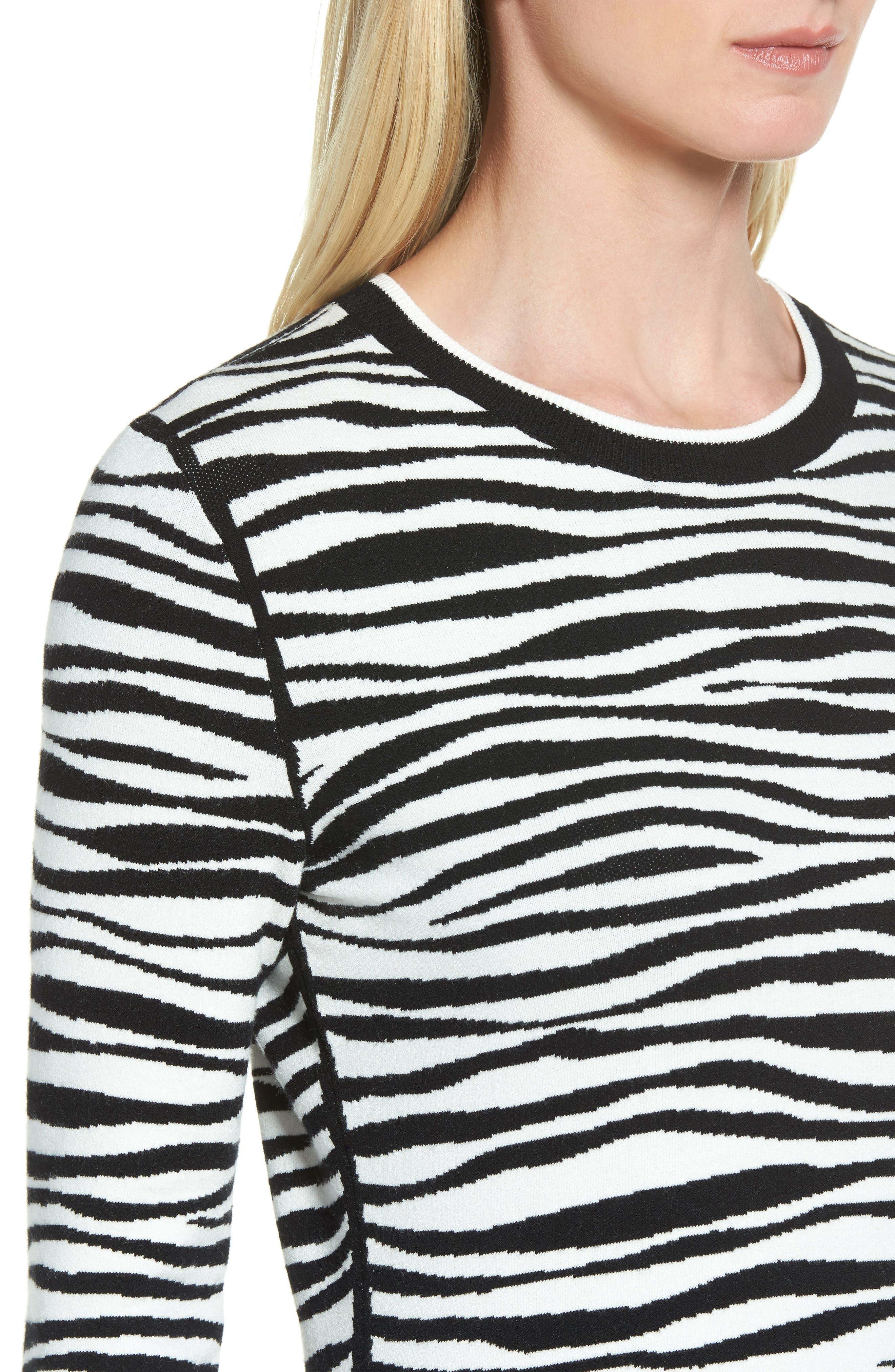 Fatima Zebra Stripe Sweater,                             Alternate thumbnail 4, color,                             006