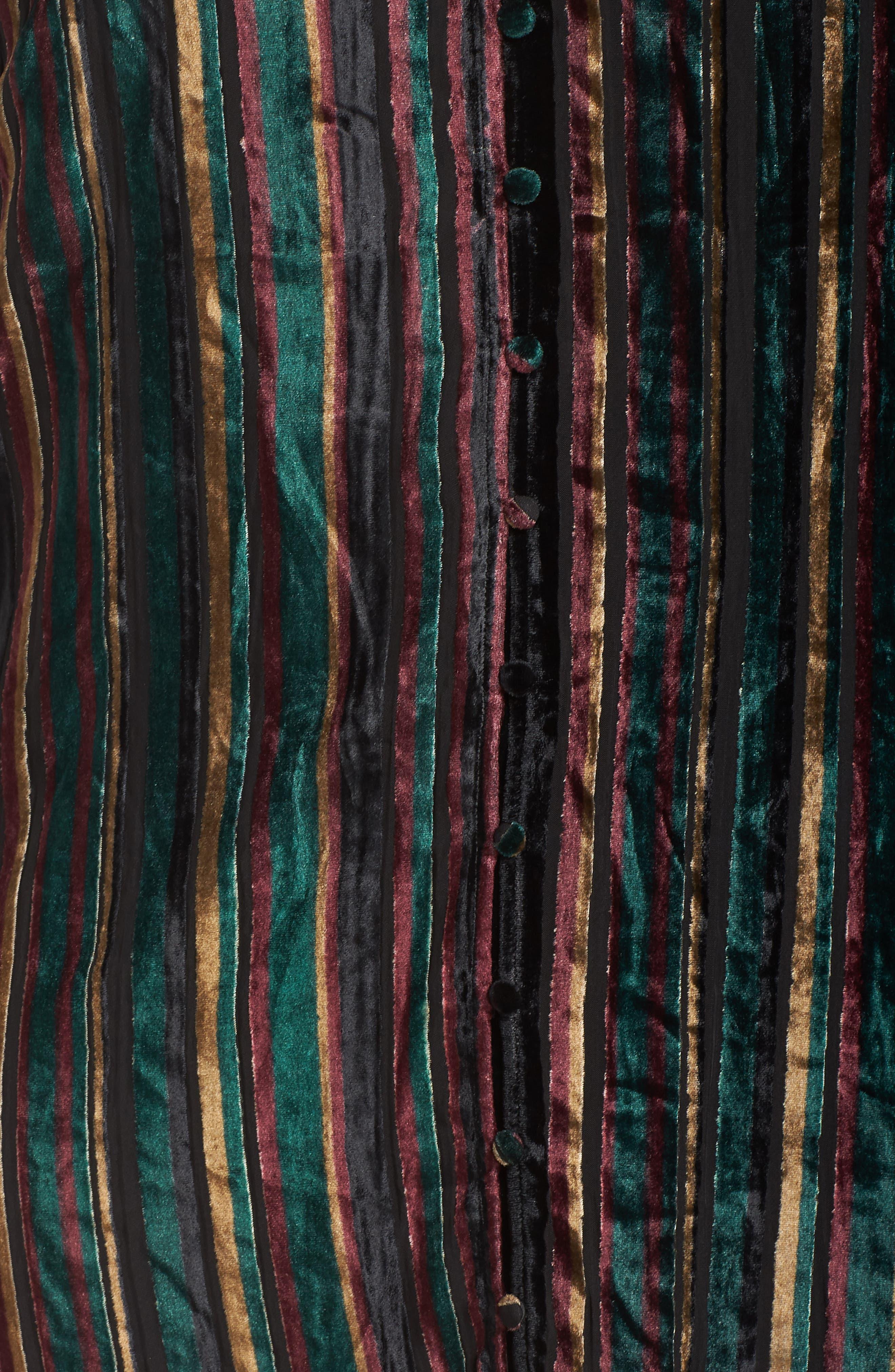 Velvet Burnout Stripe Dress,                             Alternate thumbnail 6, color,                             BLACK VELVET STRIPE