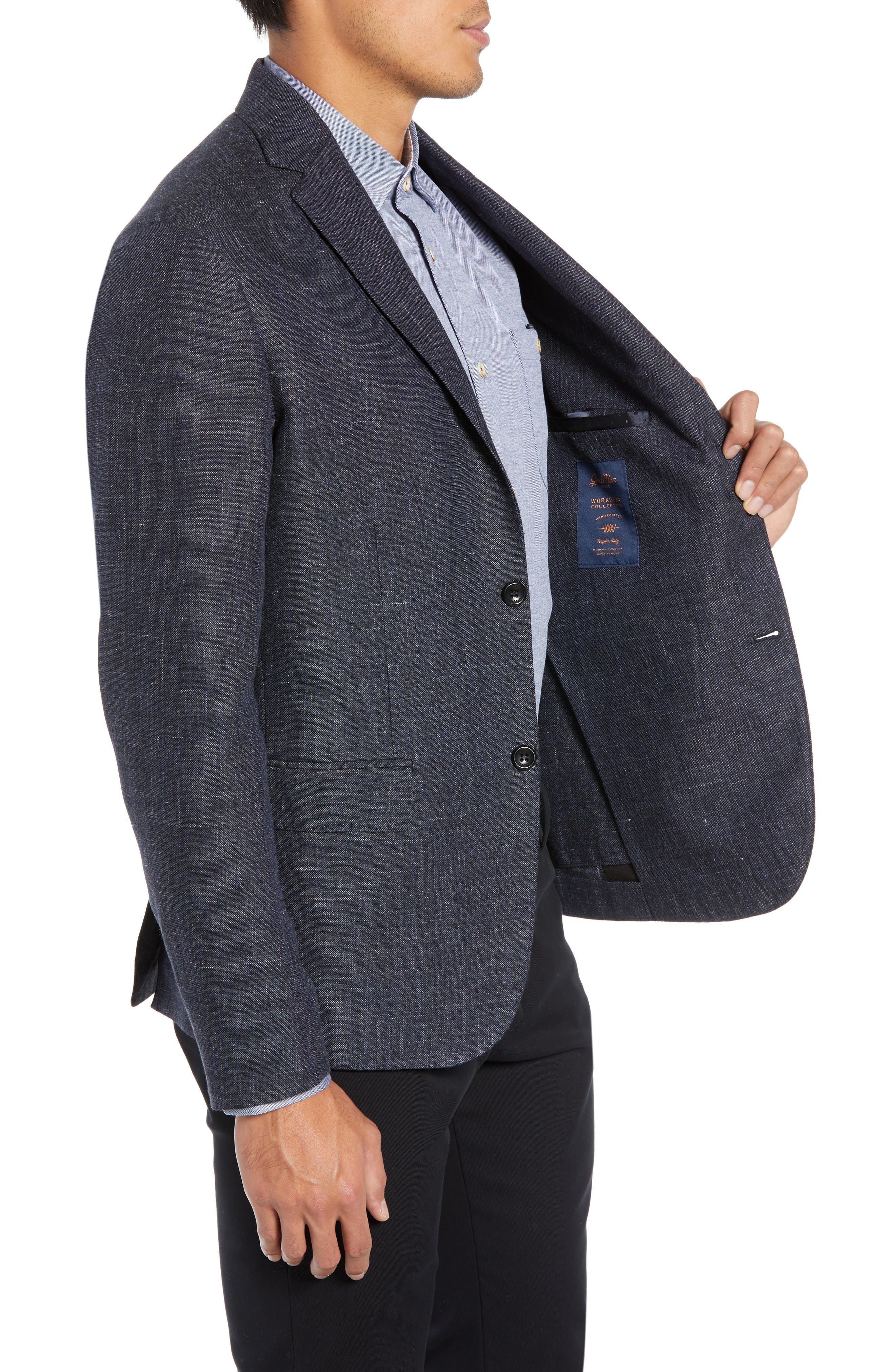 Slim Fit Unconstructed Wool & Linen Blazer,                             Alternate thumbnail 3, color,                             410