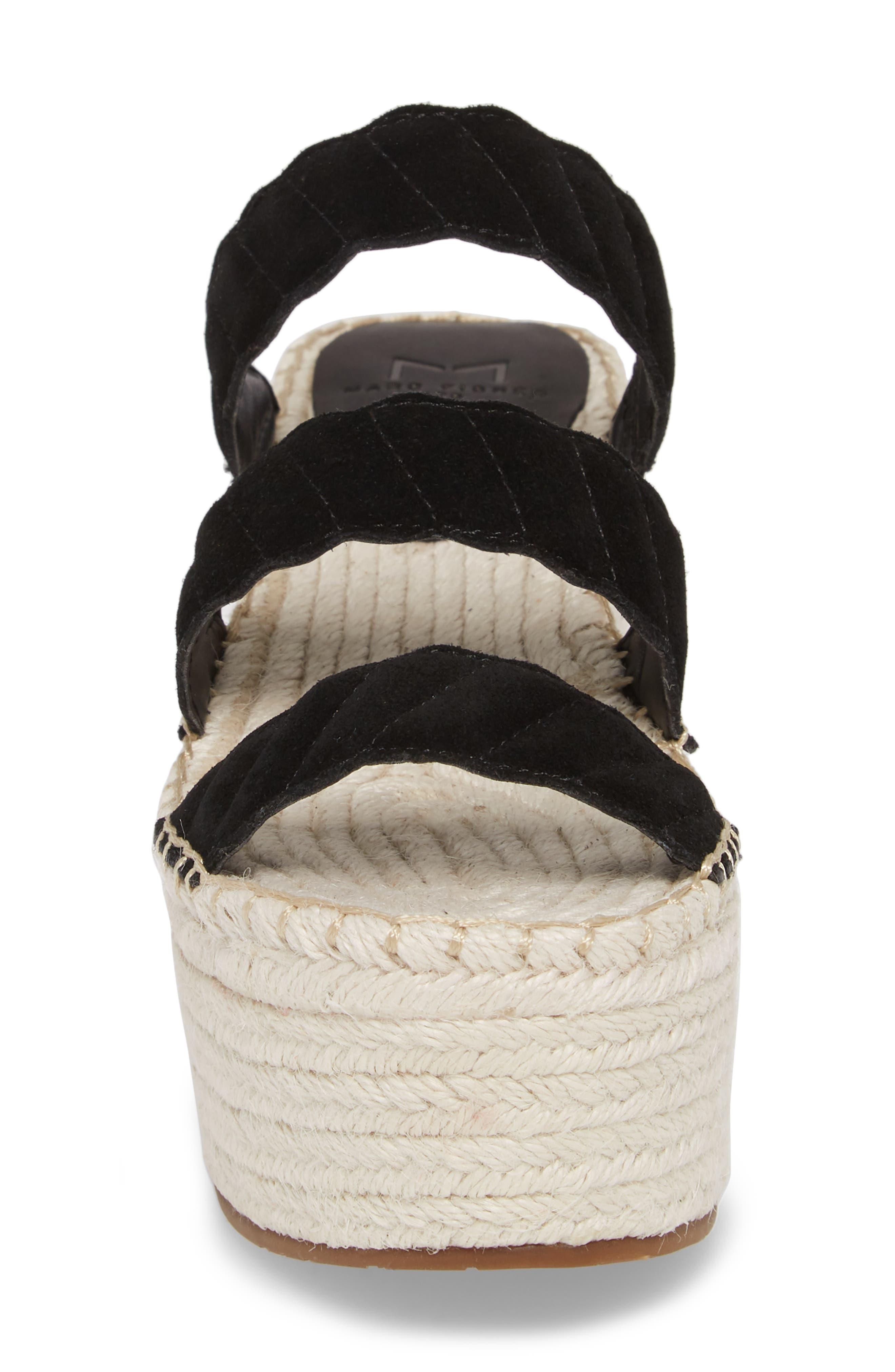 Rosie Espadrille Platform Sandal,                             Alternate thumbnail 4, color,                             BLACK SUEDE