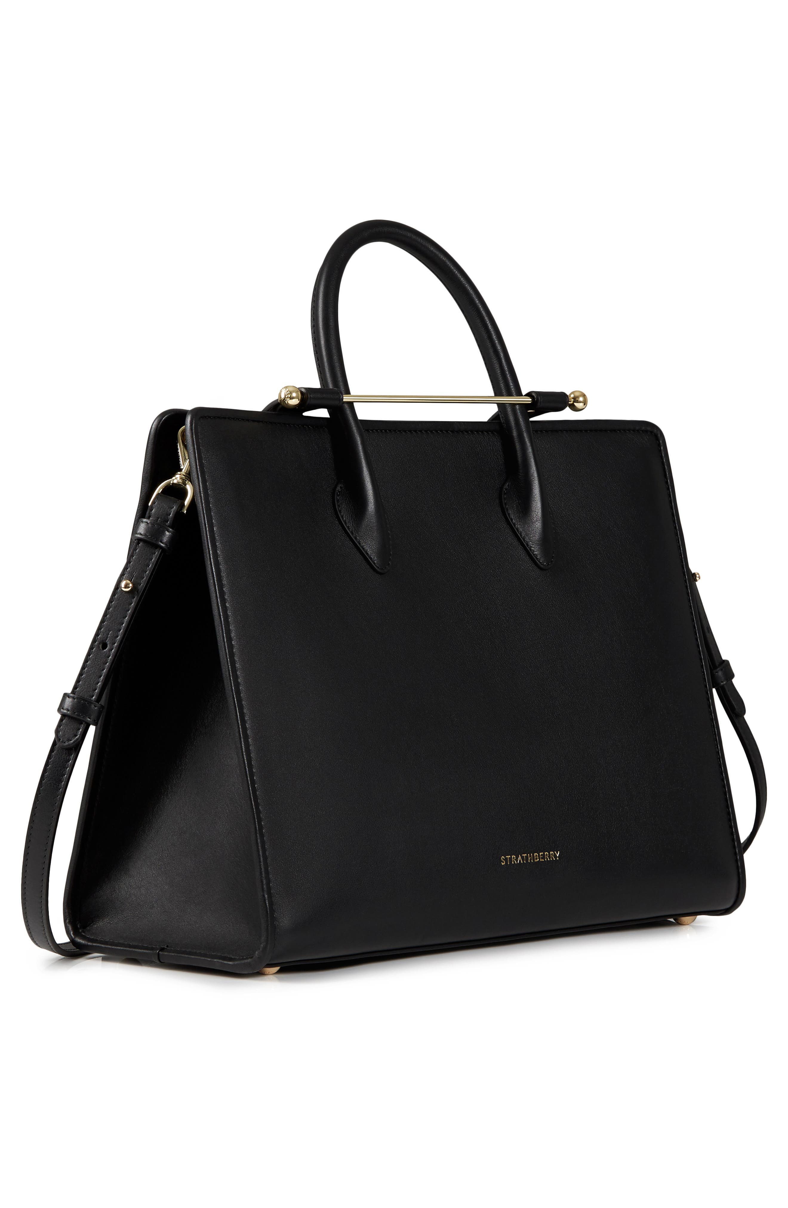 Large Leather Tote,                             Alternate thumbnail 4, color,                             BLACK