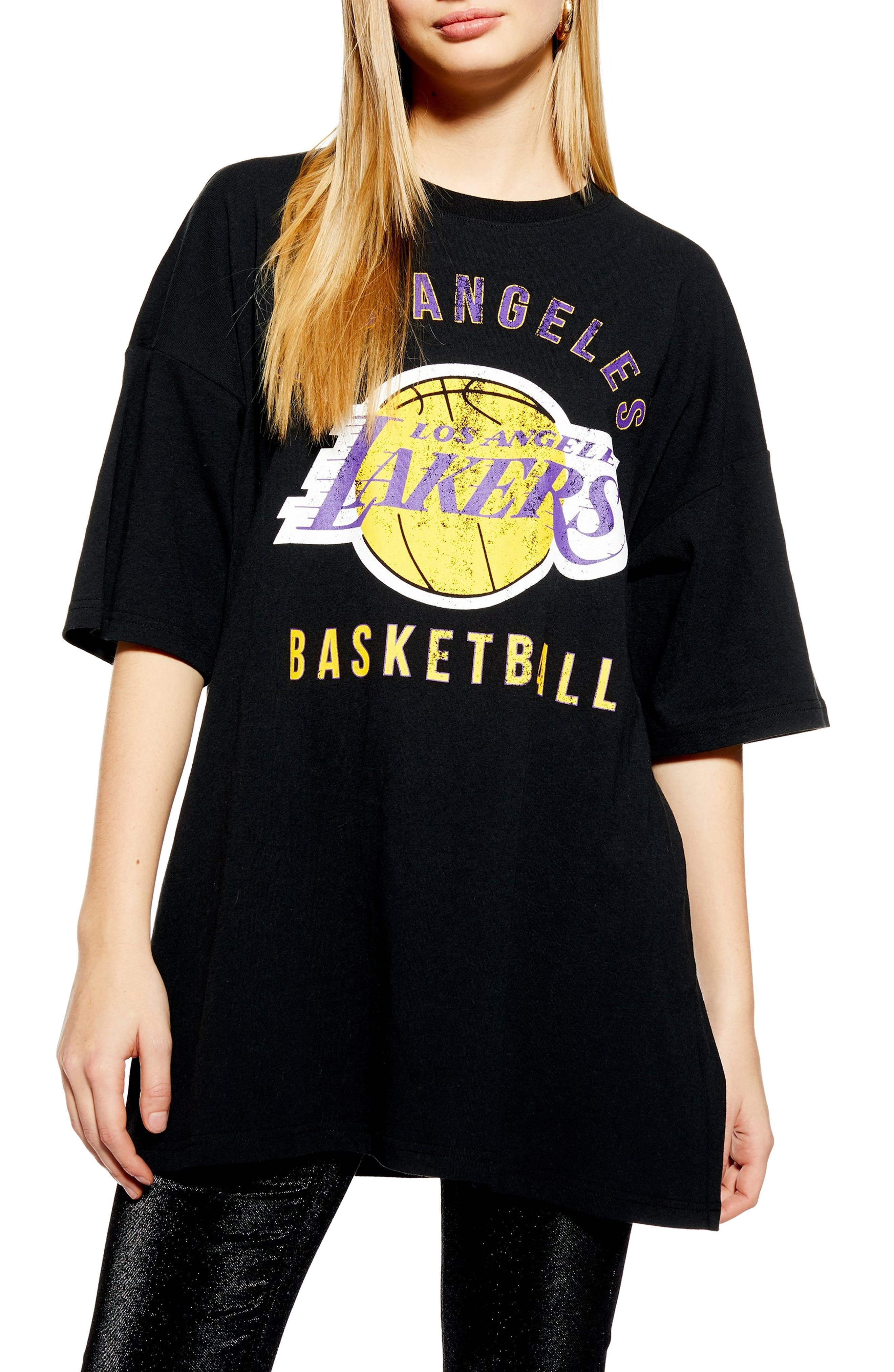 TOPSHOP x UNK Lakers Oversize Tee, Main, color, BLACK MULTI