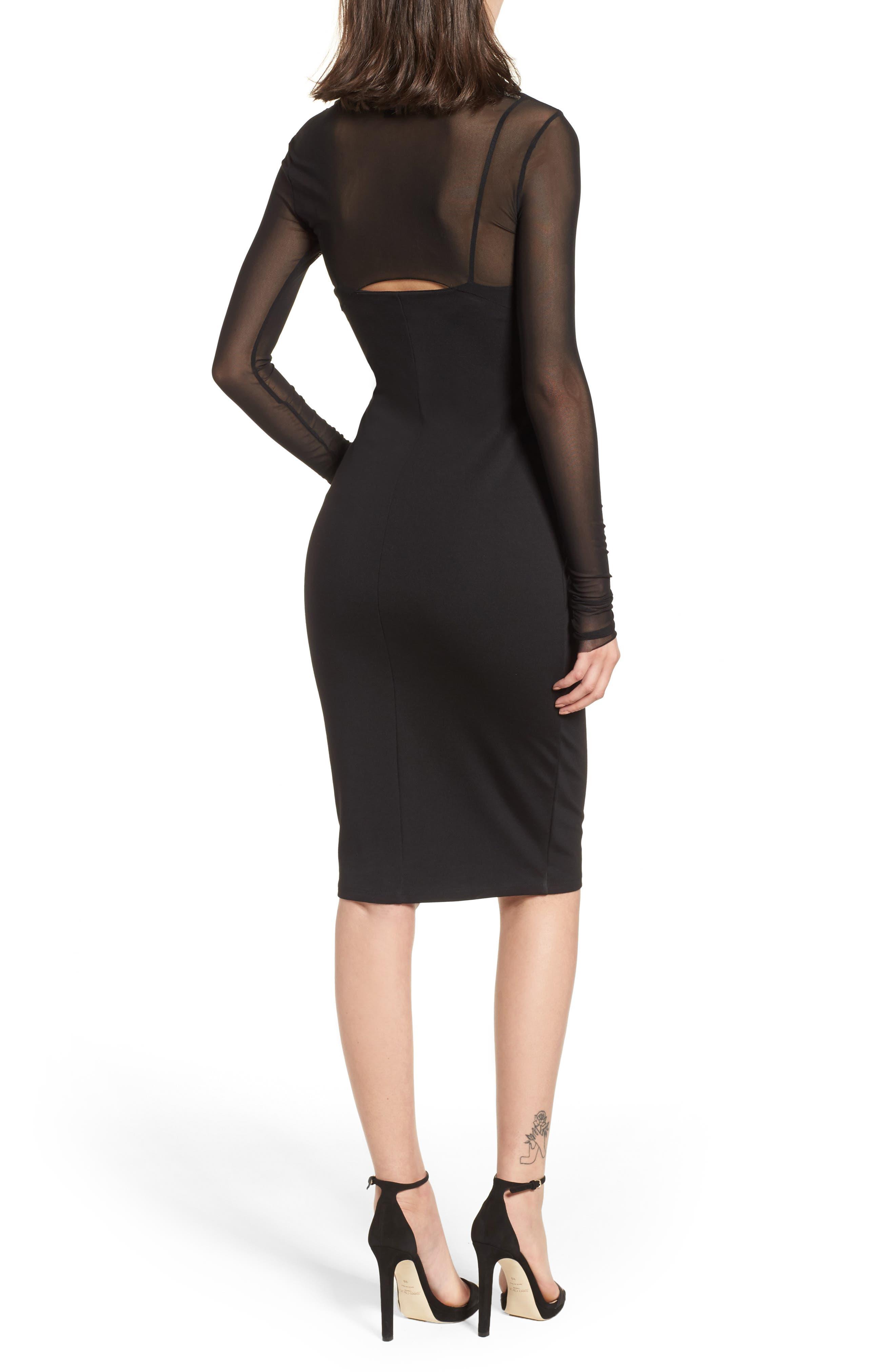 Mesh Overlay Sheath Dress,                             Alternate thumbnail 2, color,                             001