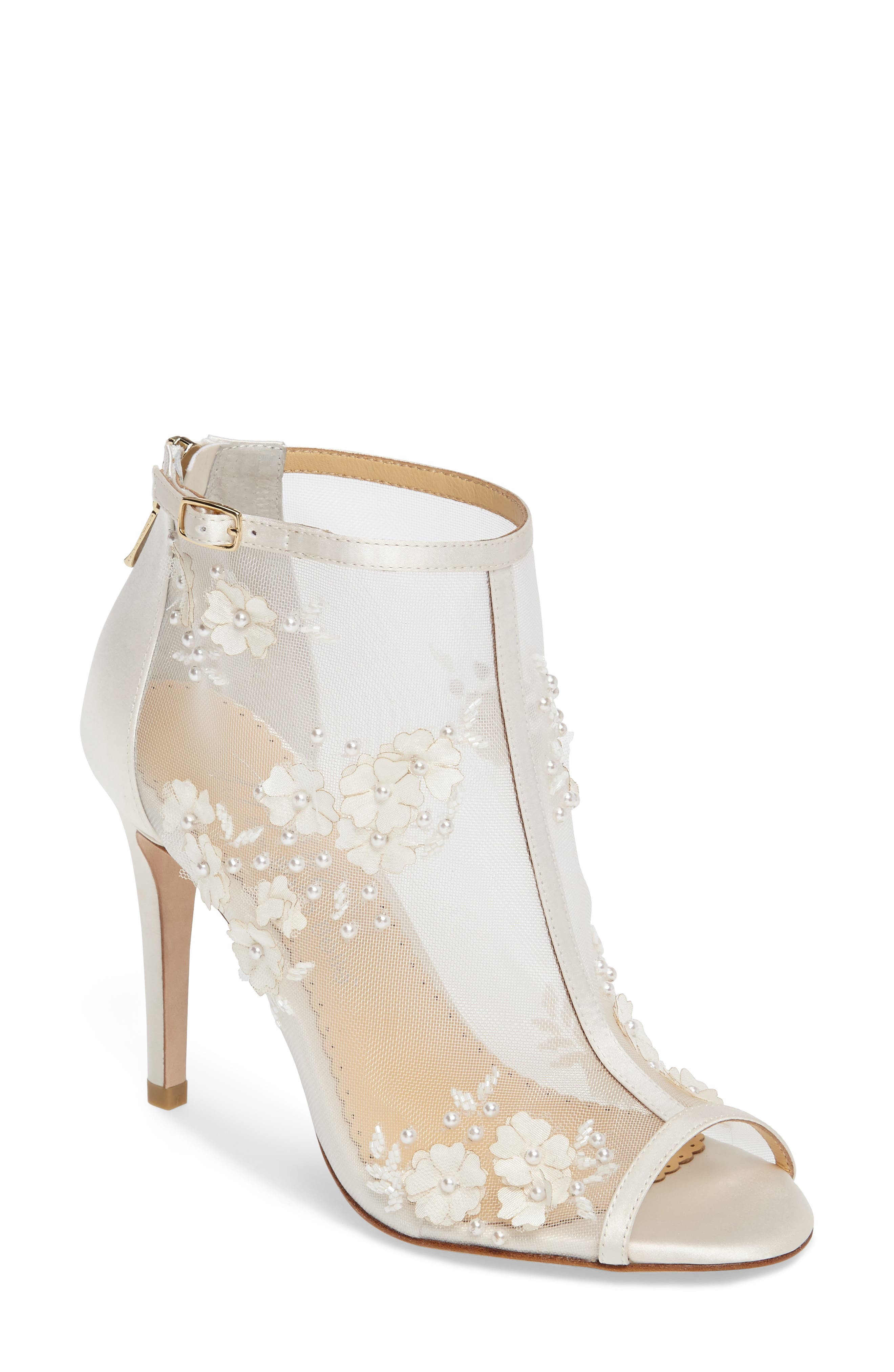 Belle Peep Toe Bootie,                         Main,                         color, IVORY FABRIC