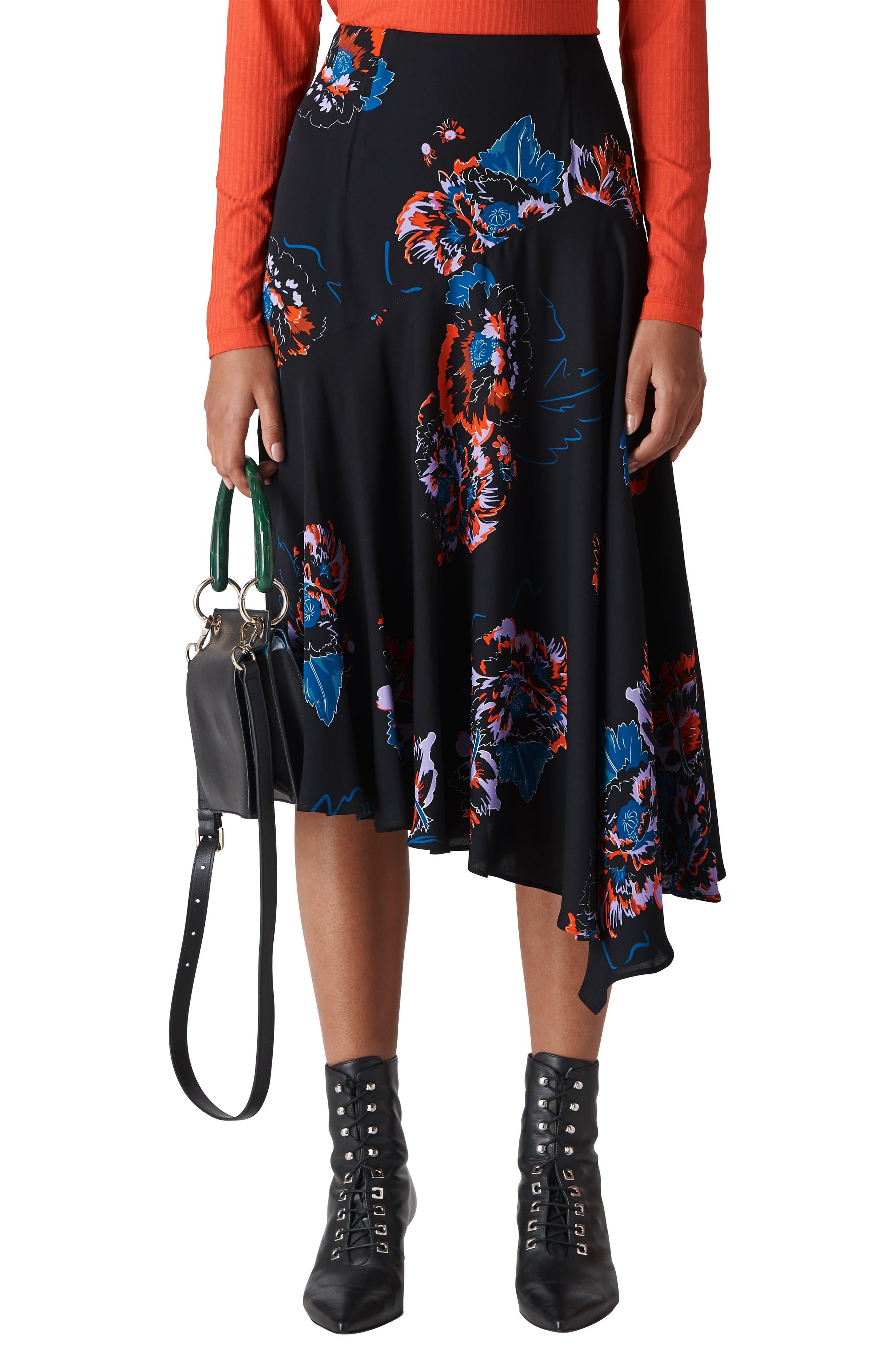 Freya Floral Asymmetrical Skirt,                             Main thumbnail 1, color,                             001