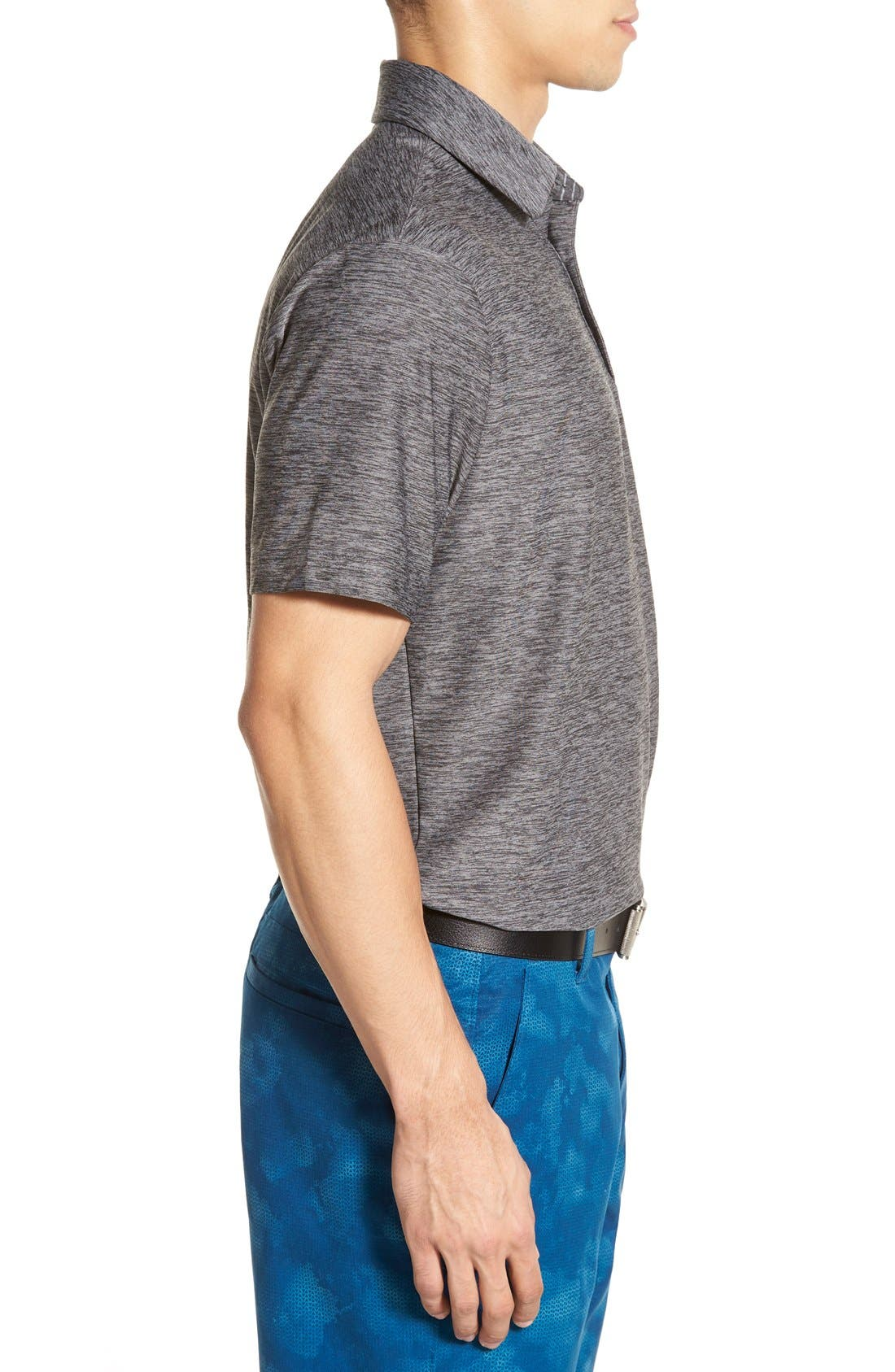 'Playoff' Loose Fit Short Sleeve Polo,                             Alternate thumbnail 4, color,                             CARBON HEATHER