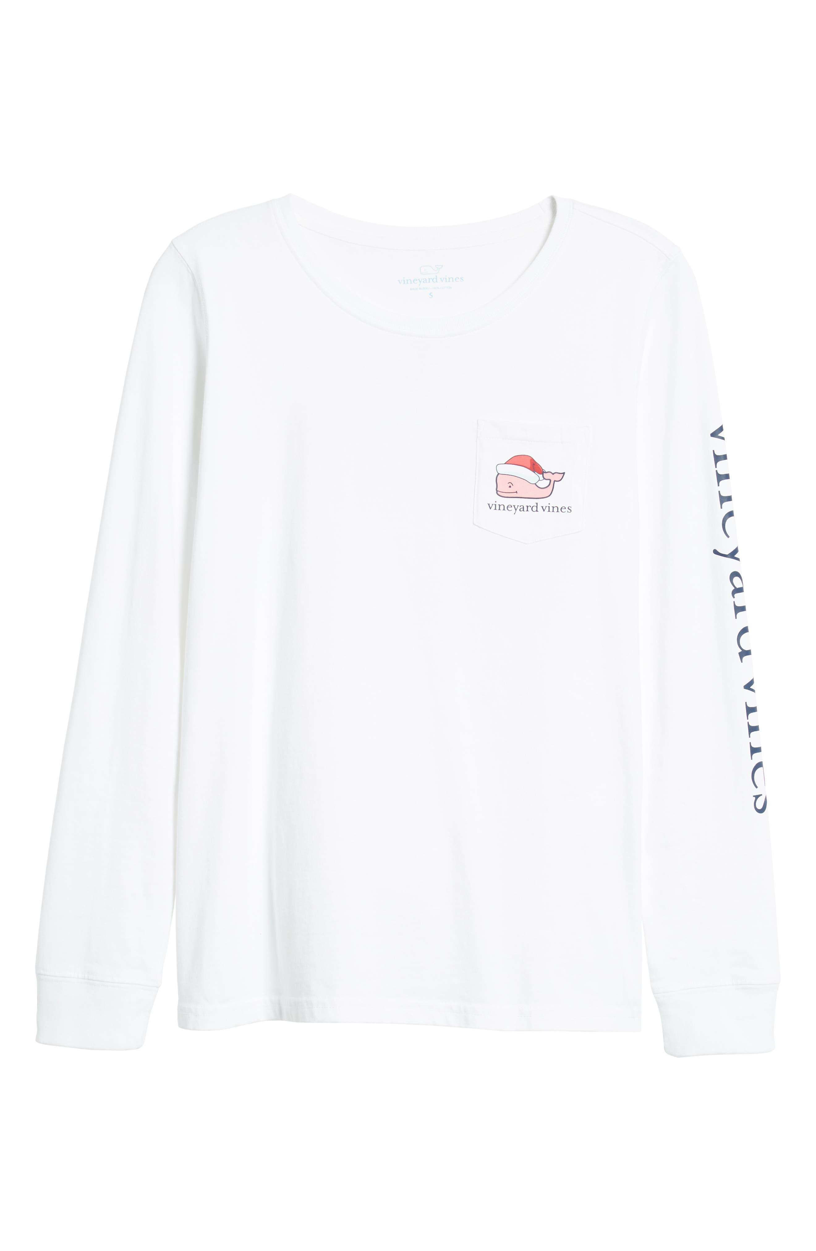 Santa Whale Pocket Tee,                             Alternate thumbnail 6, color,                             WHITE CAP