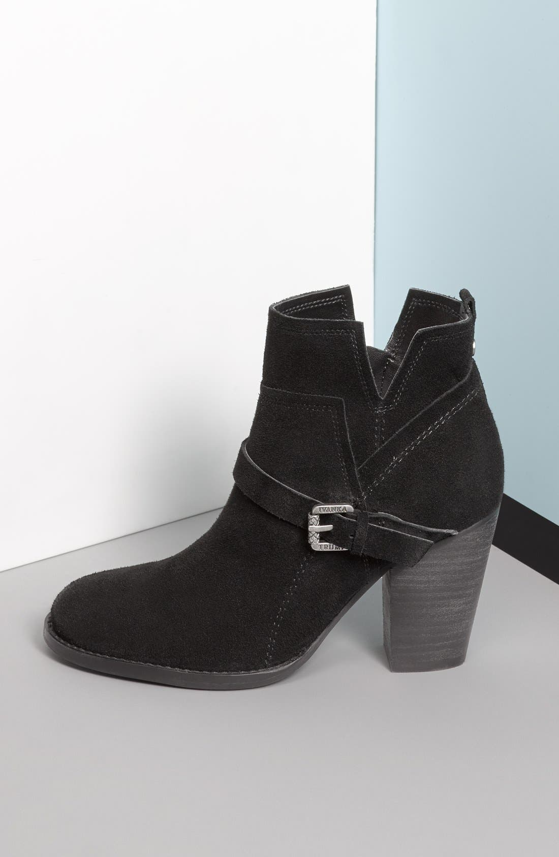 IVANKA TRUMP,                             'Frankly' Belted Round Toe Bootie,                             Alternate thumbnail 6, color,                             001