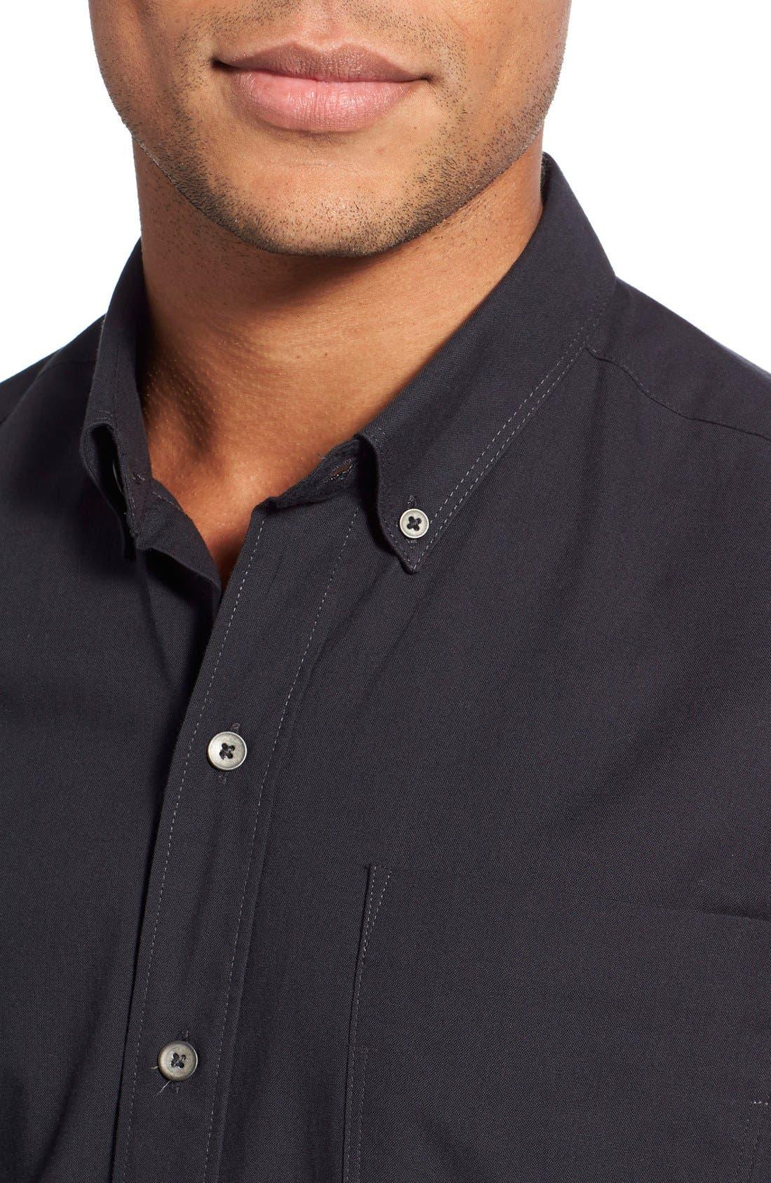 'Reworkd' Slim Fit Solid Mixed Media Sport Shirt,                             Alternate thumbnail 4, color,                             001