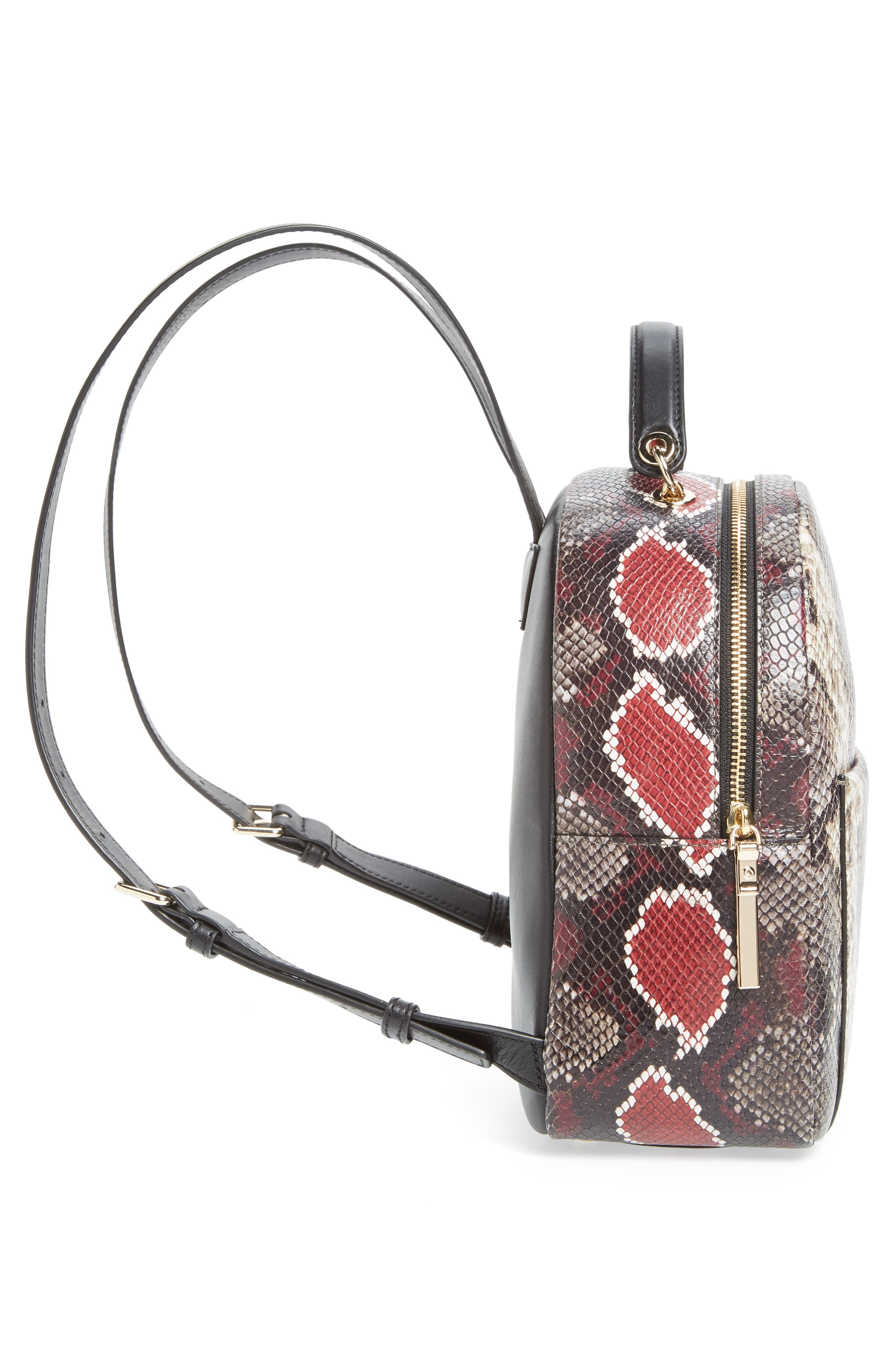 reese park - ethel snake embossed leather backpack,                             Alternate thumbnail 5, color,                             200
