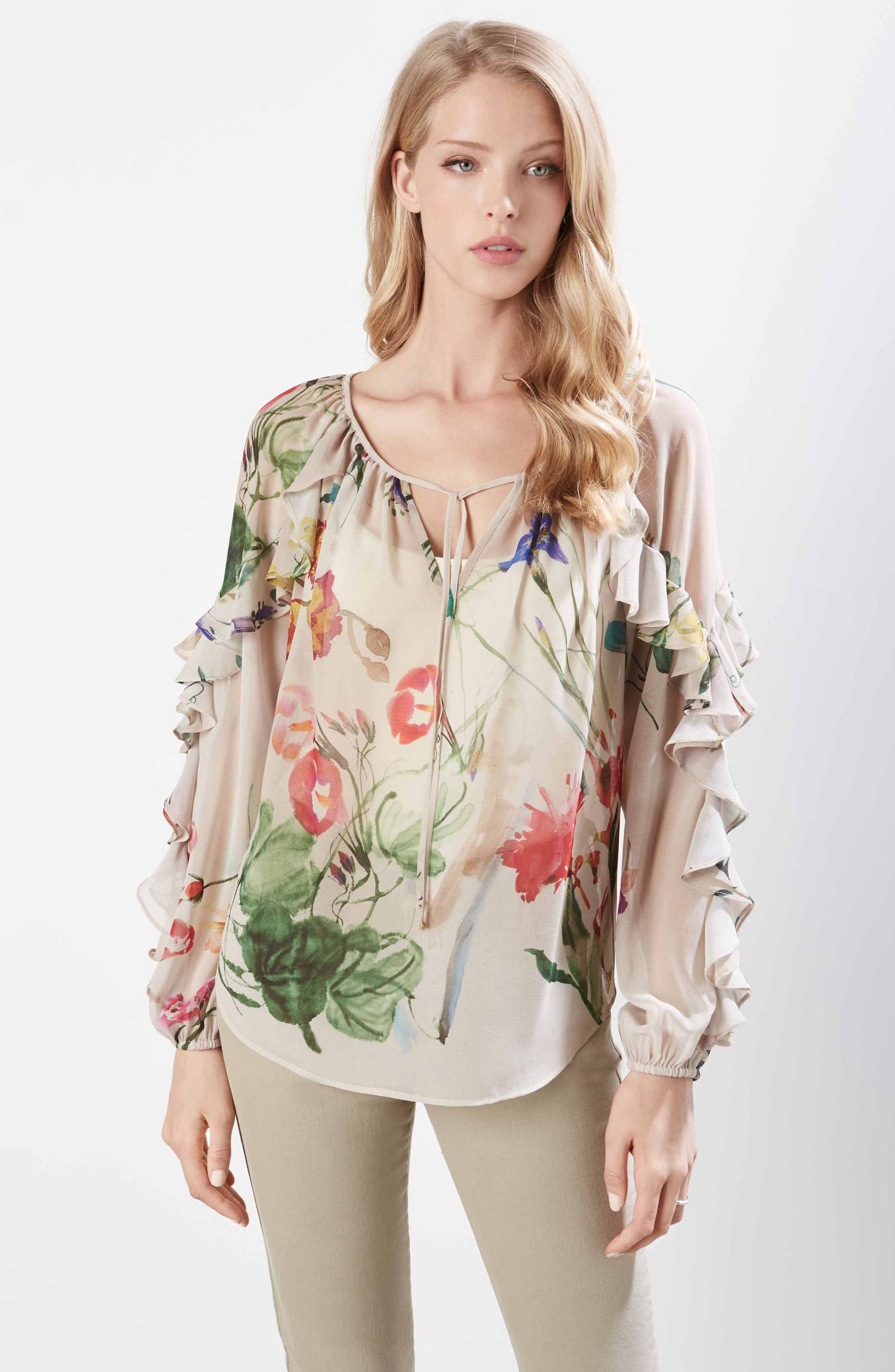 Keyhole Ruffle Sleeve Floral Georgette Blouse,                             Alternate thumbnail 3, color,                             660