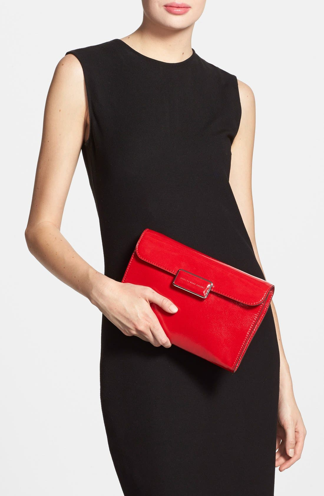 MARC BY MARC JACOBS 'Pegg' Patent Leather Clutch,                             Alternate thumbnail 4, color,                             600