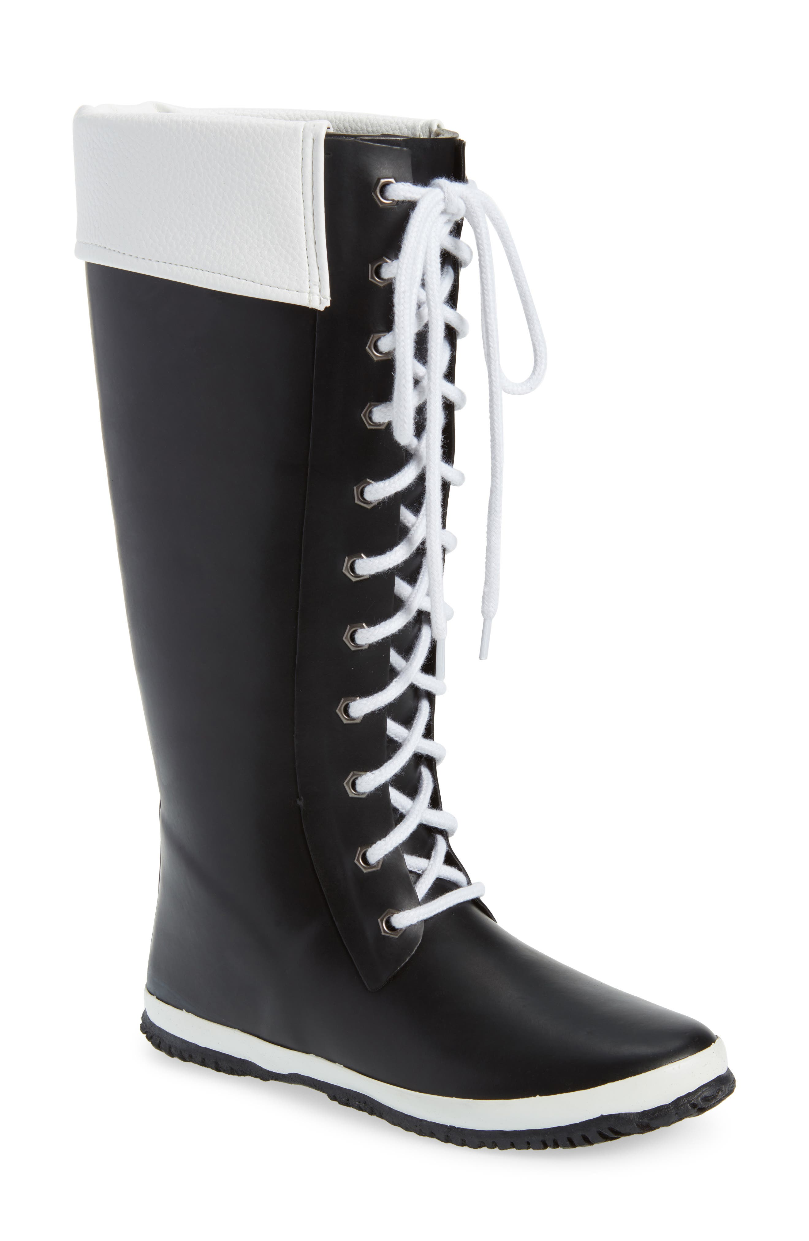 Lace-Up Waterproof Rain Boot,                         Main,                         color, BLACK