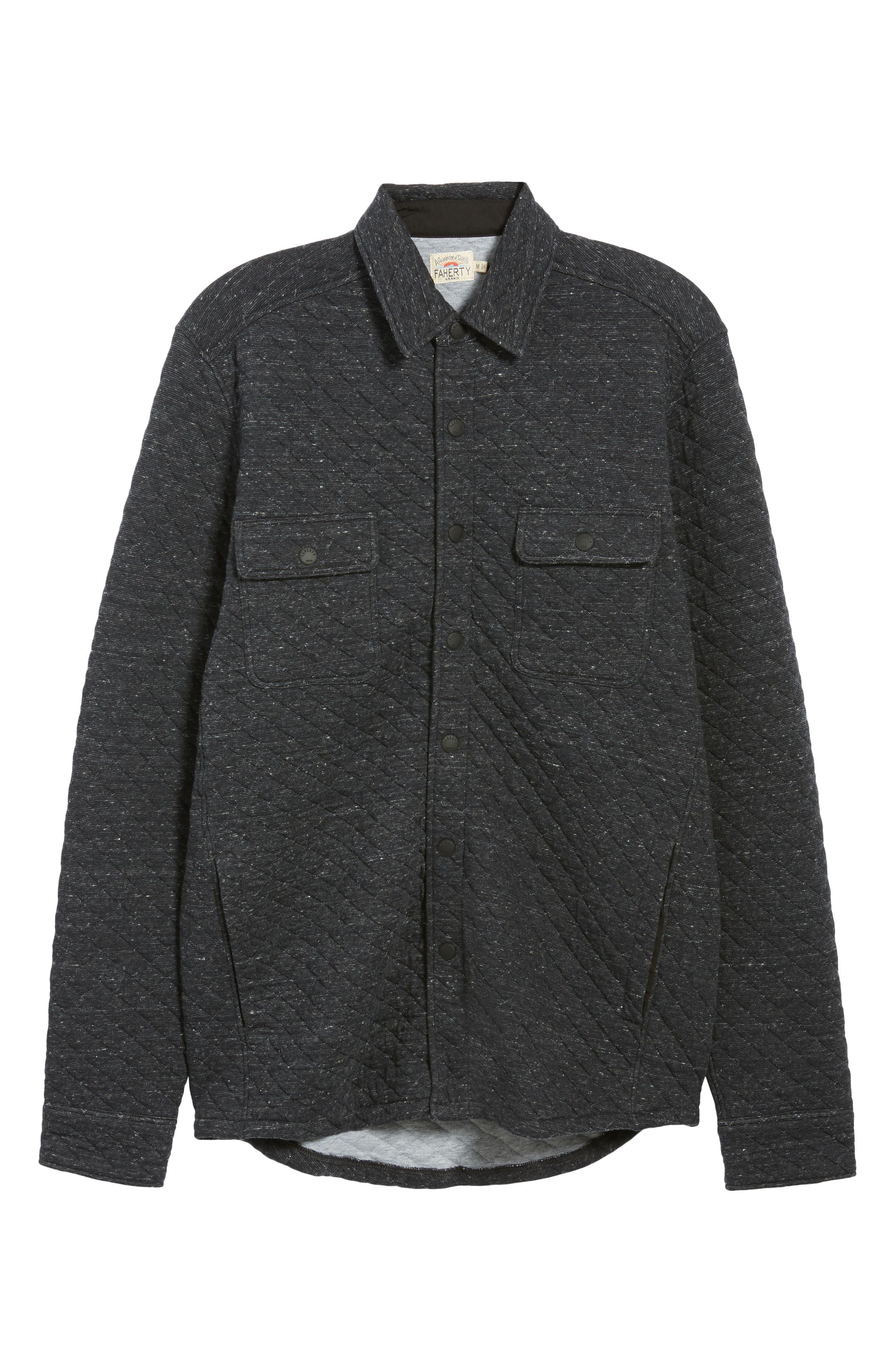 FAHERTY,                             Belmar Regular Fit Quilted Shirt Jacket,                             Alternate thumbnail 5, color,                             BLACK HEATHER