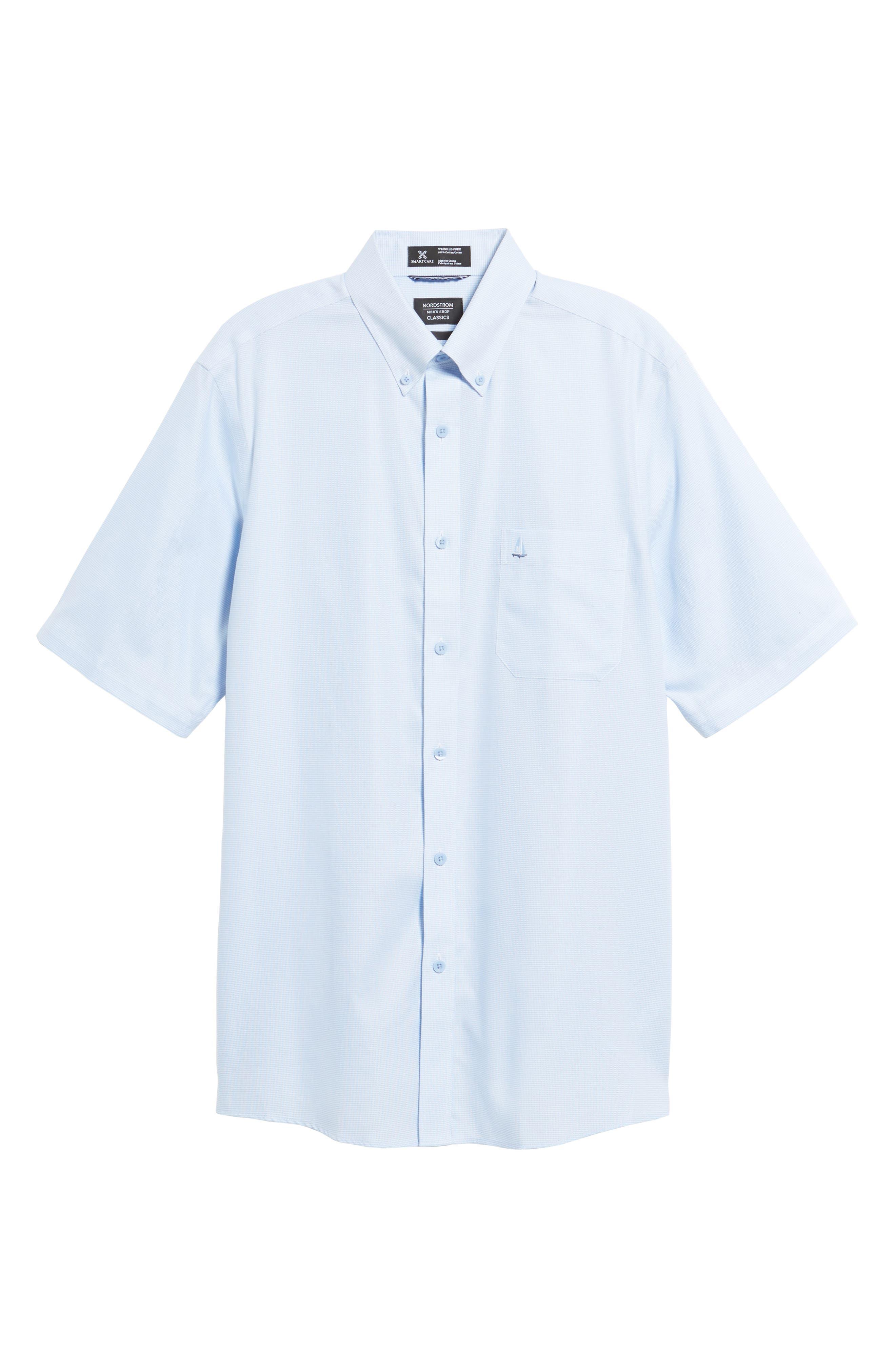 'Classic' Smartcare<sup>™</sup> Regular Fit Short Sleeve Cotton Sport Shirt,                             Alternate thumbnail 101, color,