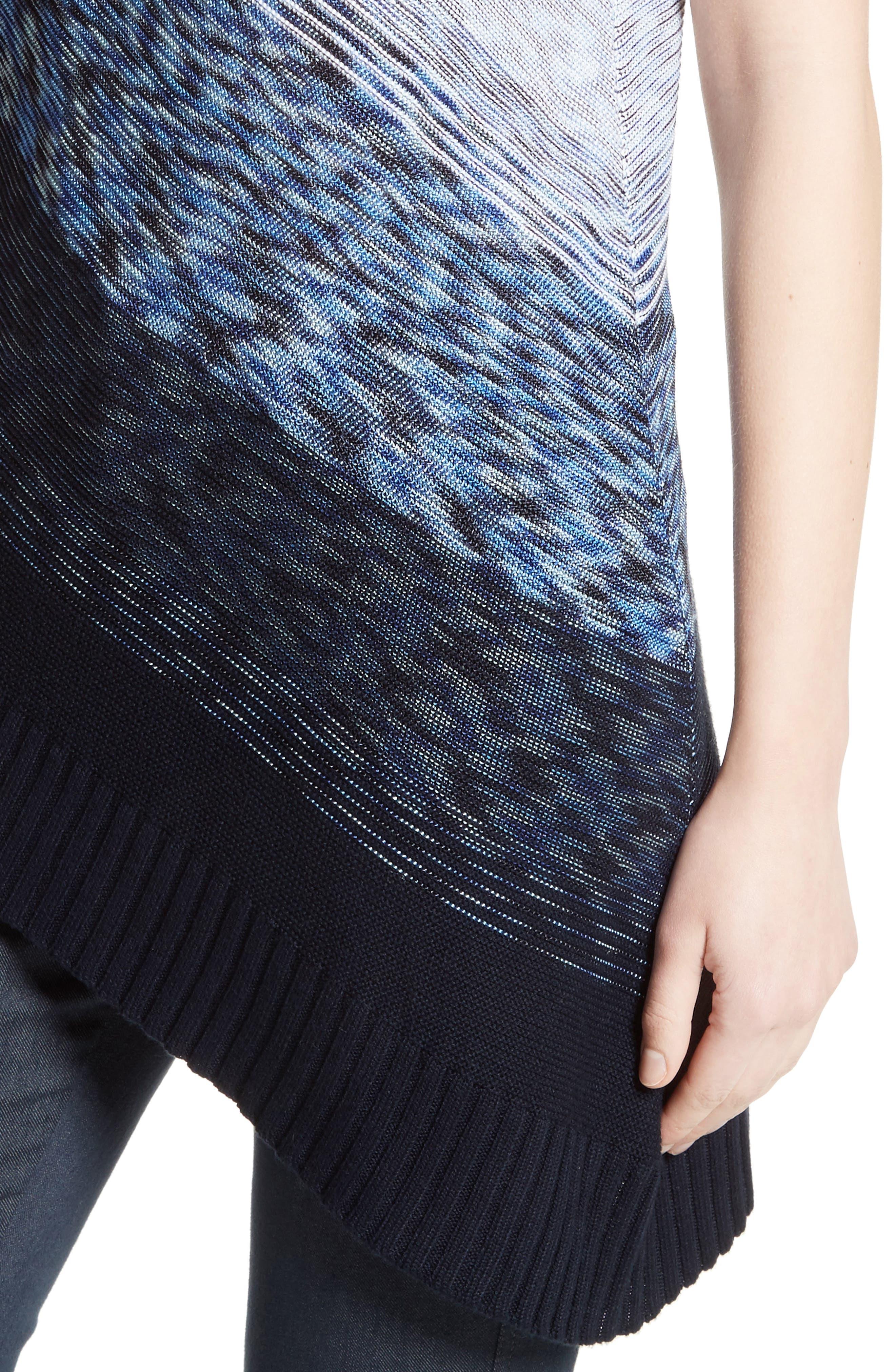 Dégradé Chambray Asymmetrical Sweater,                             Alternate thumbnail 4, color,                             400