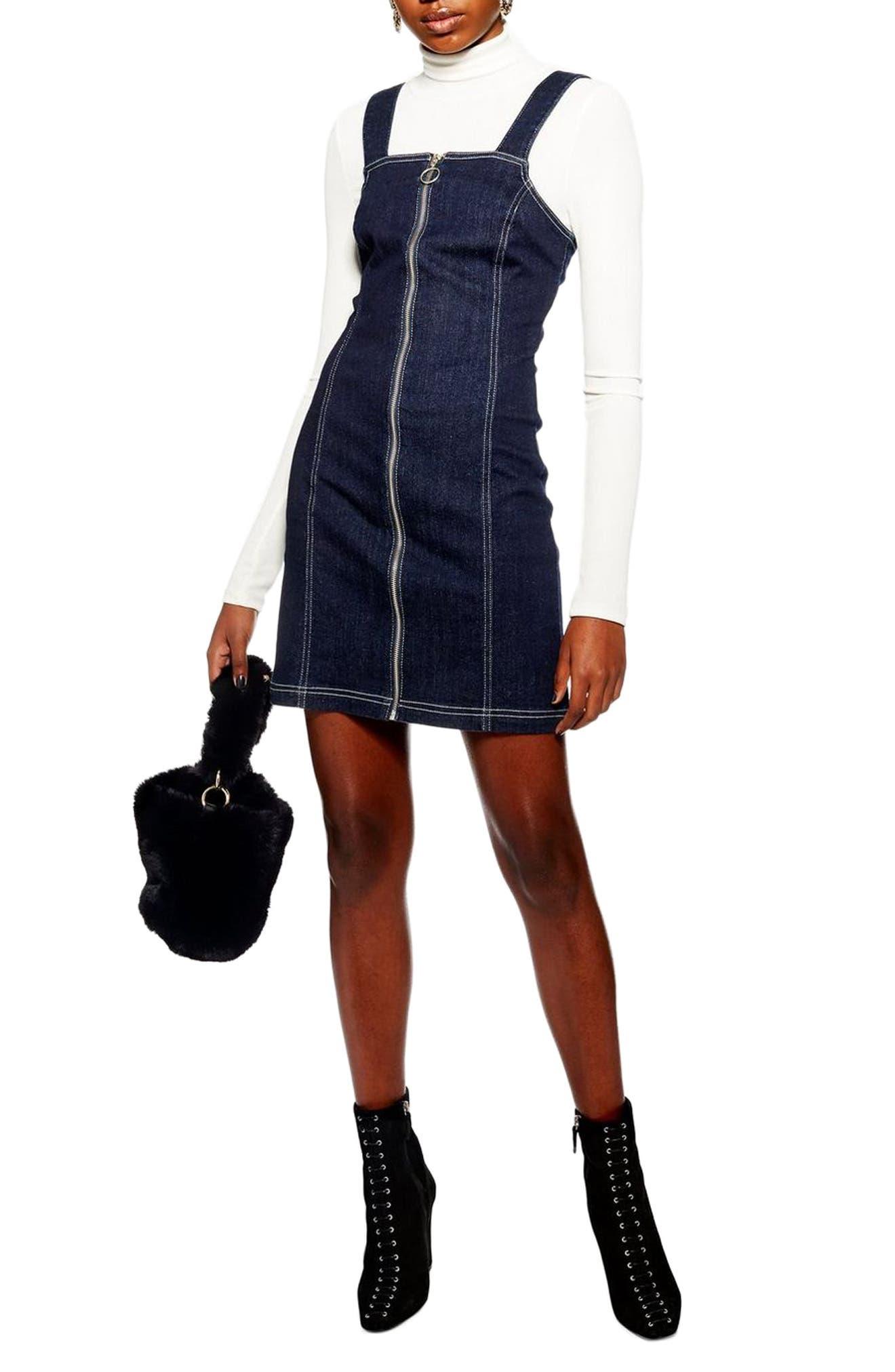 Topshop Stretch Denim Zip Dress, US (fits like 0) - Blue