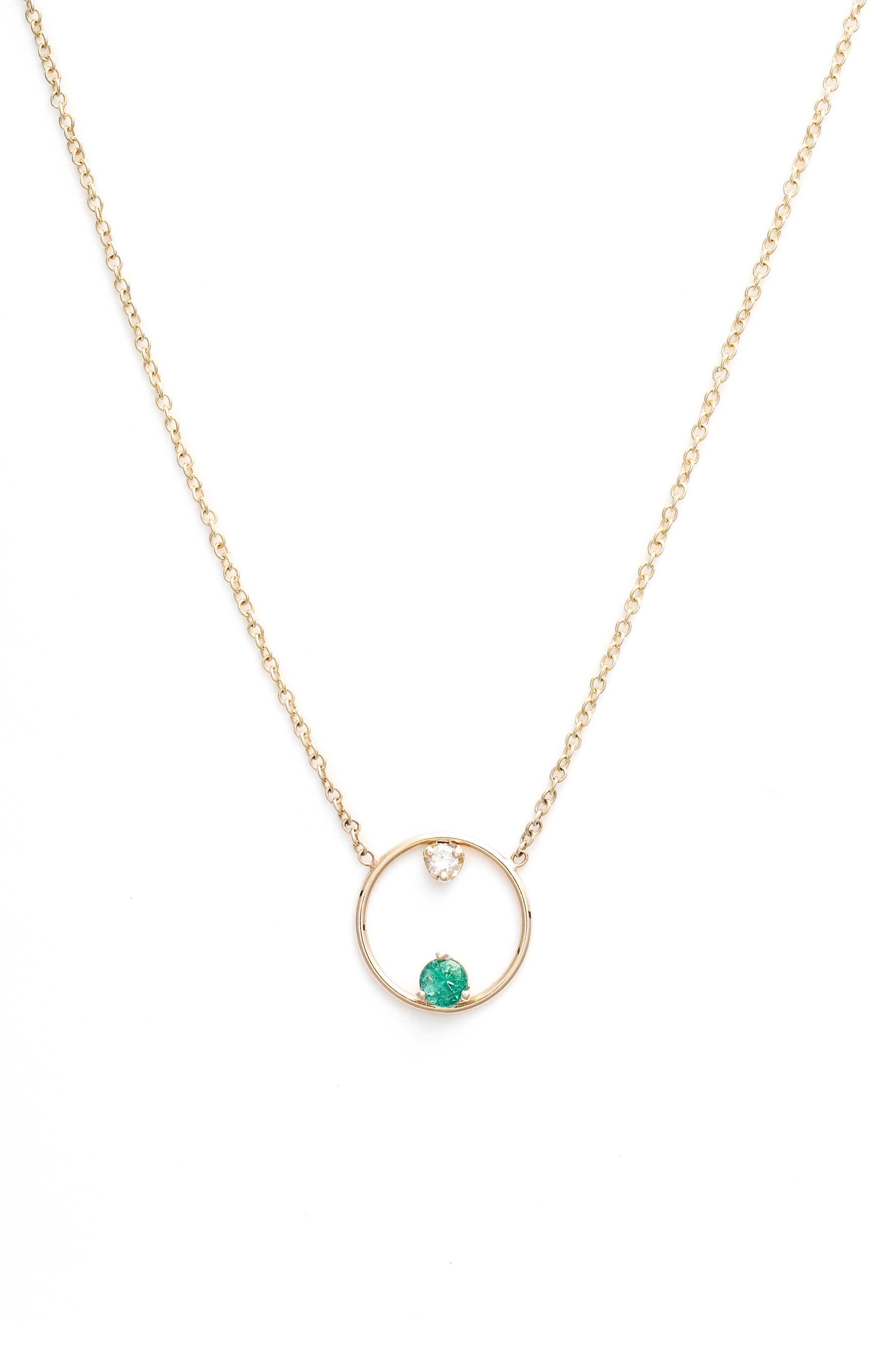 Zoe Chicco Emerald And Diamond Open Circle Necklace