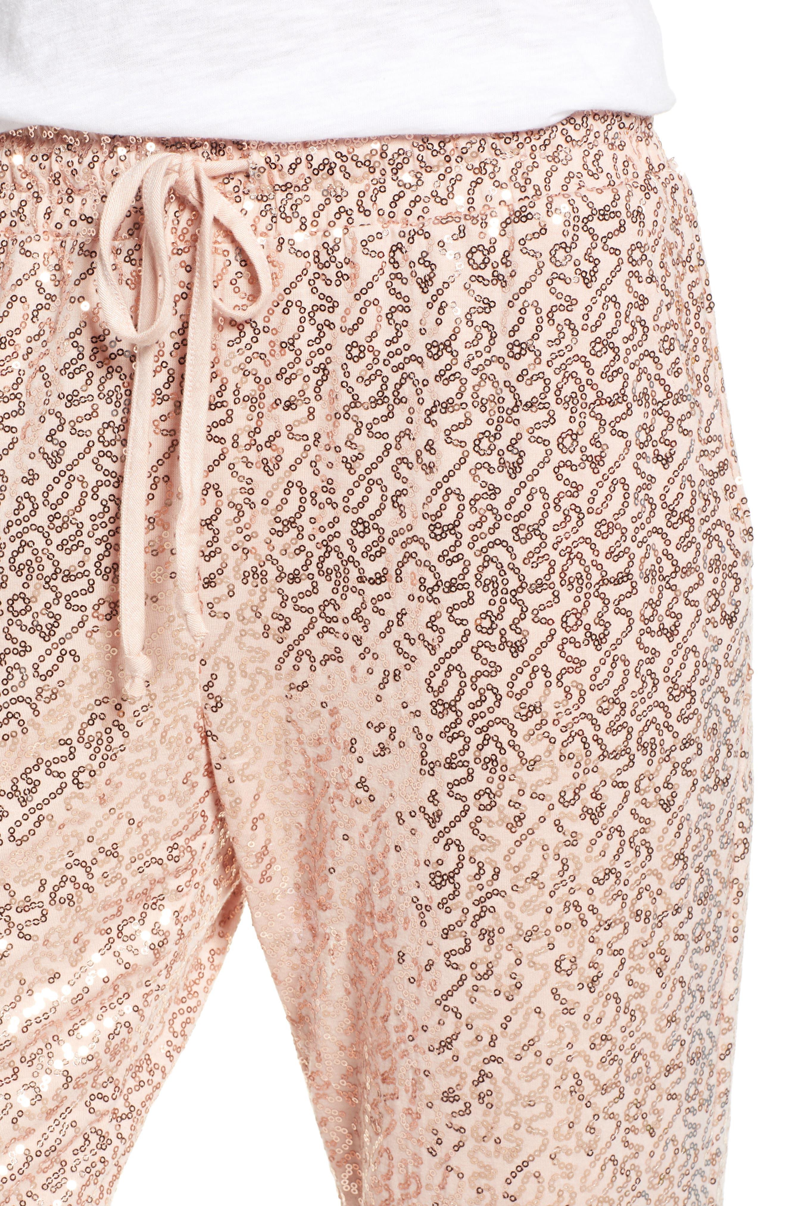 x Glam Squad Ashley Sequin Jogger Pants,                             Alternate thumbnail 5, color,                             ROSE GOLD