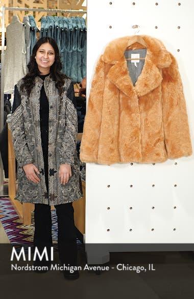 Notch Collar Faux Fur Coat, sales video thumbnail
