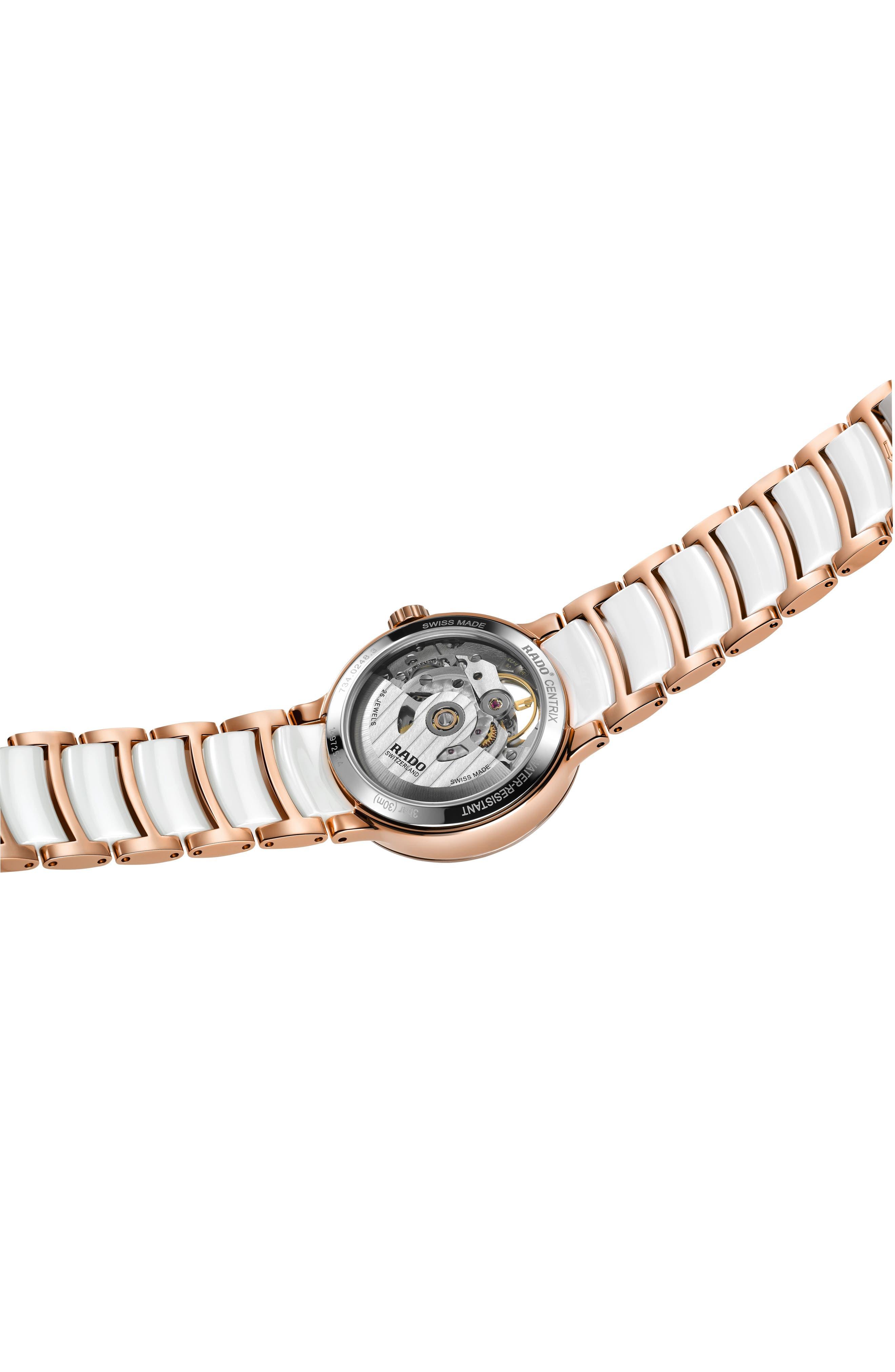 RADO,                             Centrix Open Heart Automatic Diamond Ceramic Bracelet Watch, 33mm,                             Alternate thumbnail 4, color,                             WHITE/ MOP/ ROSE GOLD