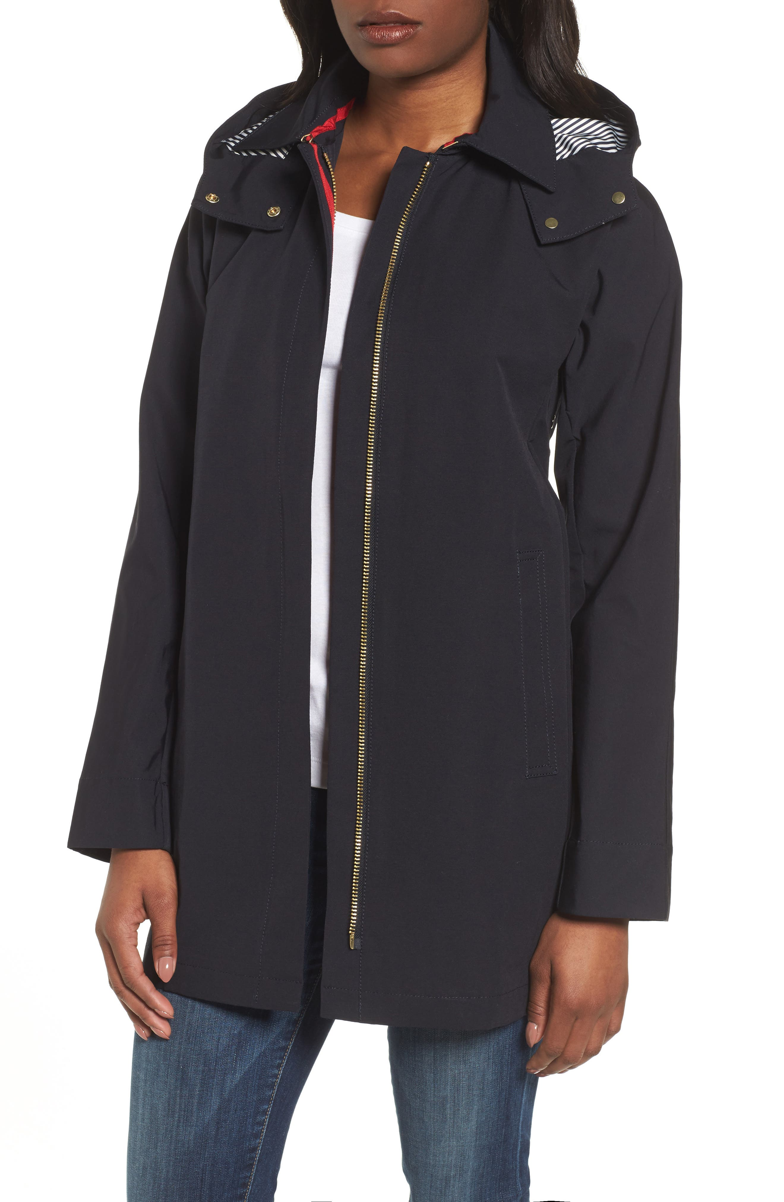 VINCE CAMUTO Hooded Fly Front Stadium Jacket, Main, color, 410