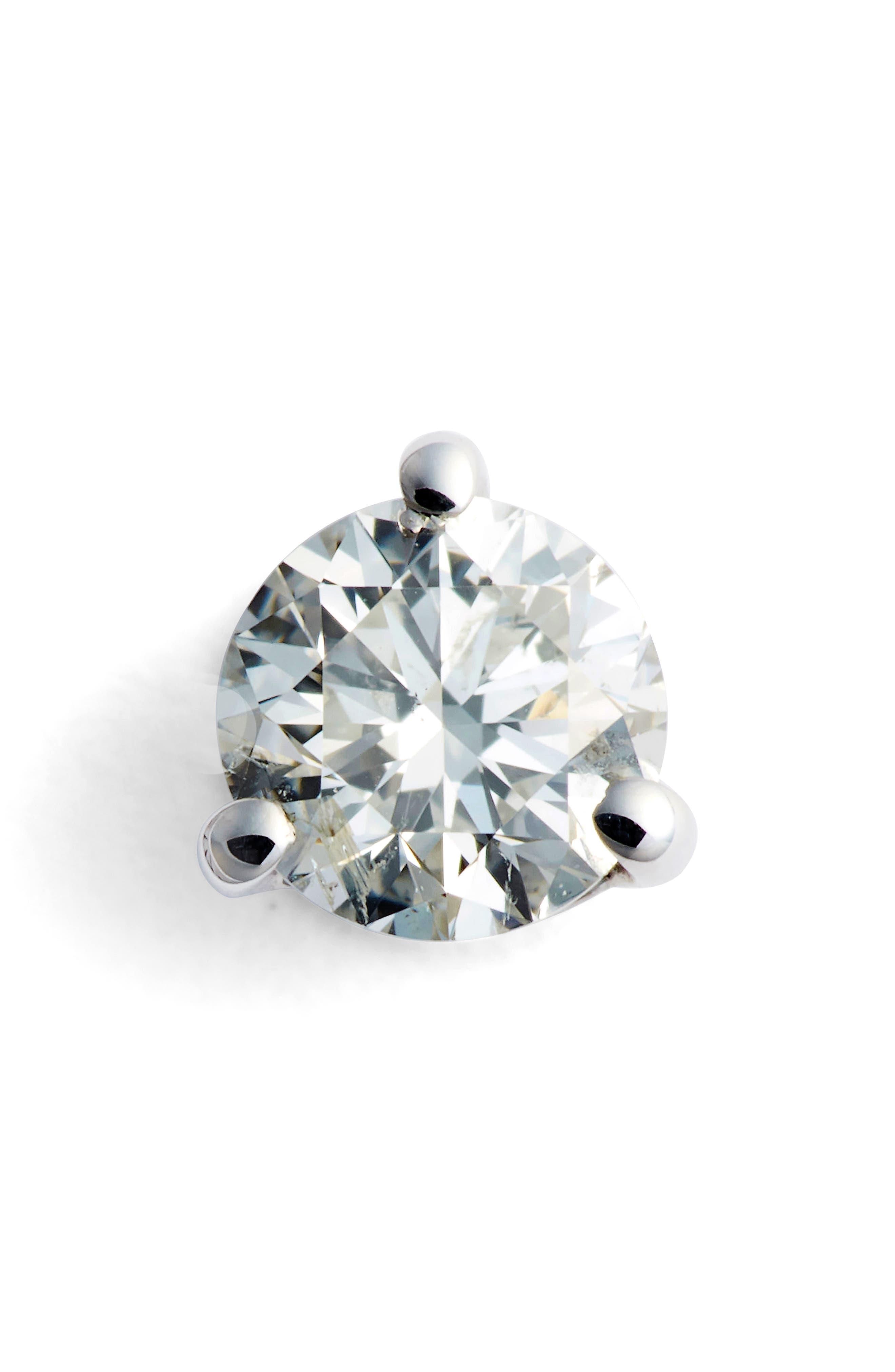 Single Diamond Stud Earring,                         Main,                         color, WHITE GOLD 2