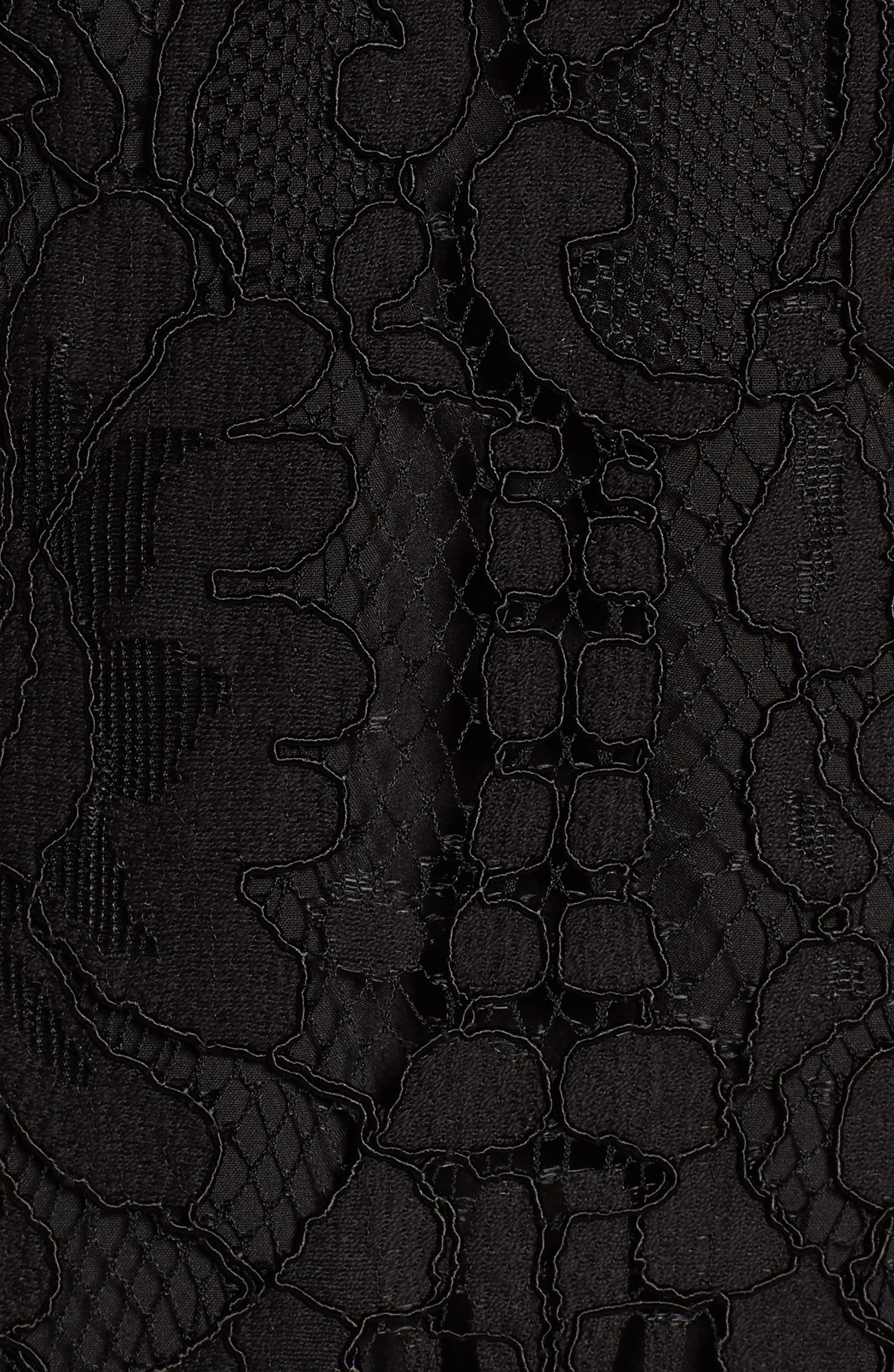 Venice Off the Shoulder Lace Minidress,                             Alternate thumbnail 5, color,                             001
