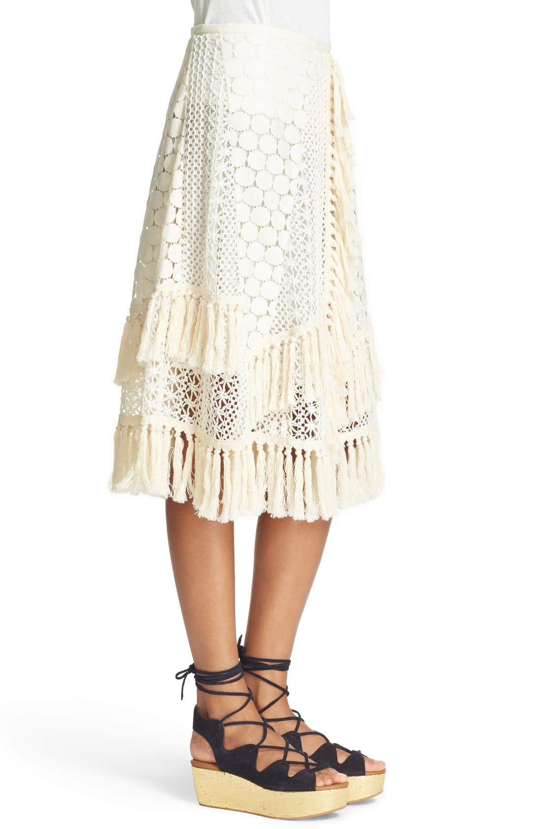SEE BY CHLOÉ,                             Lace & Fringe Skirt,                             Alternate thumbnail 4, color,                             900