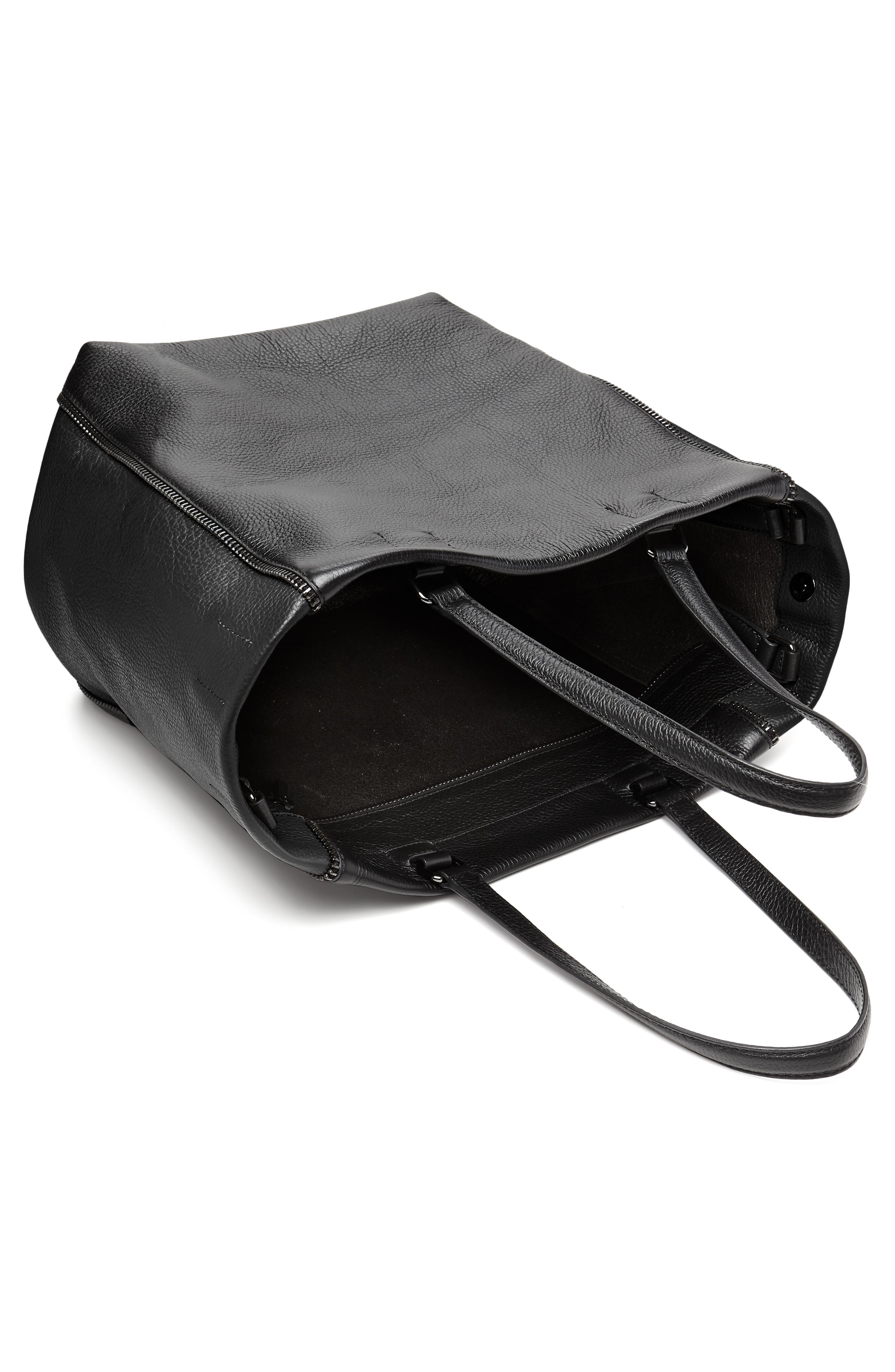 Larger Wooster Leather Tote,                             Alternate thumbnail 3, color,                             BLACK