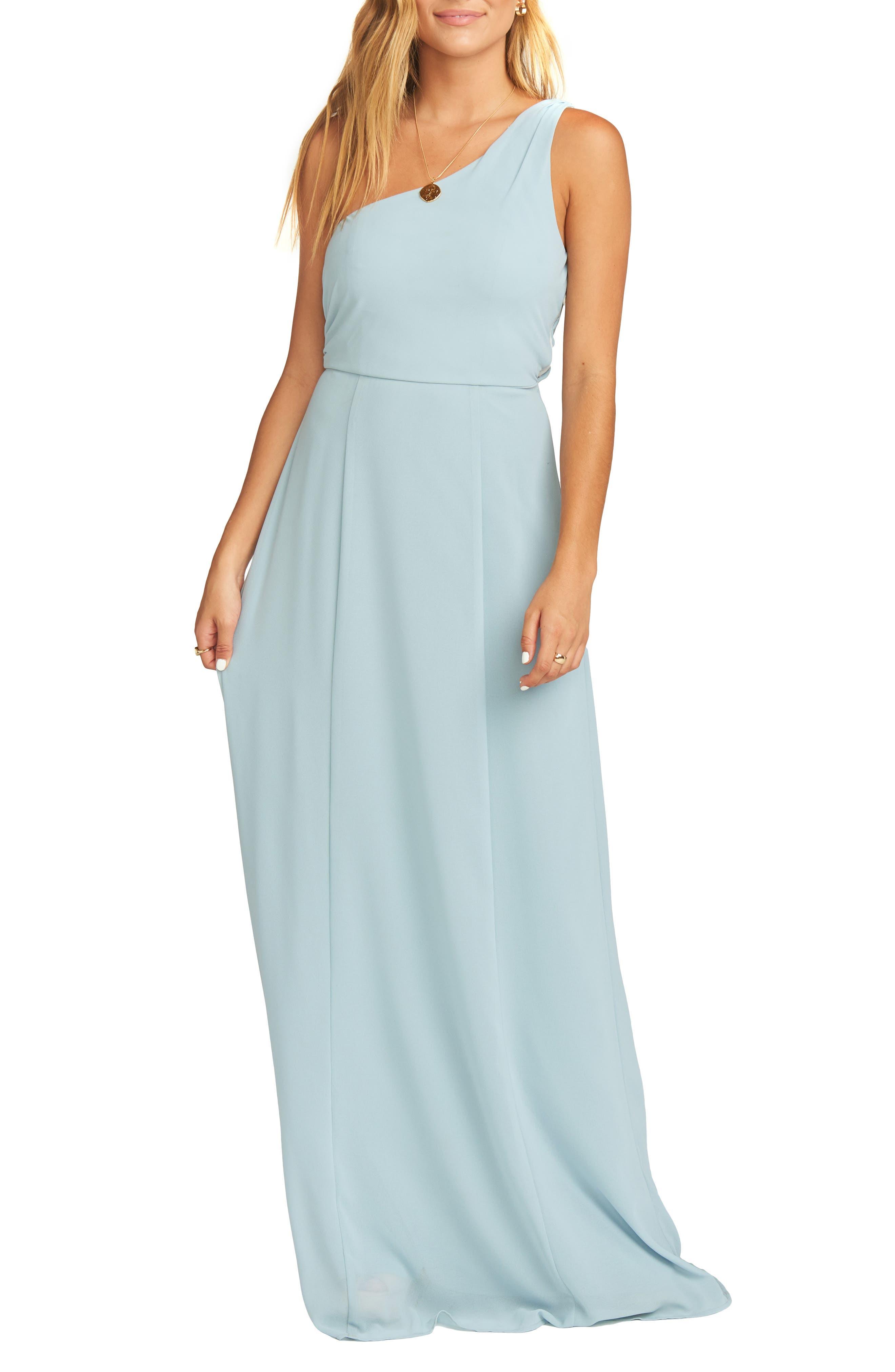 SHOW ME YOUR MUMU Eliza One-Shoulder Gown in Steel Blue Chiffon