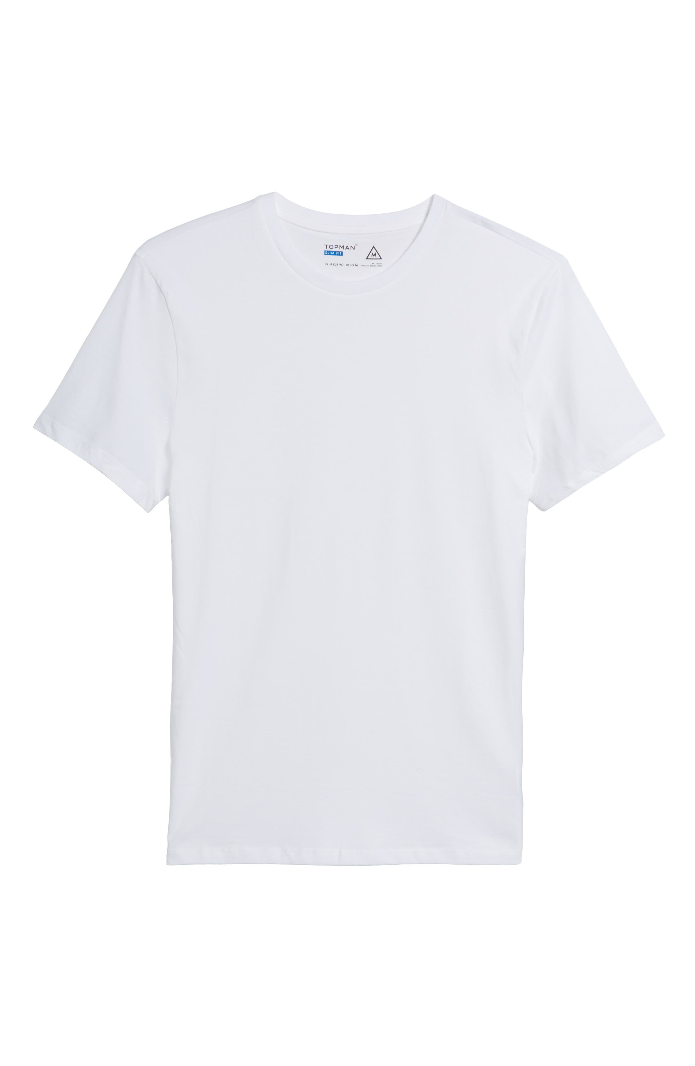 Slim Fit Crewneck T-Shirt,                         Main,                         color, WHITE