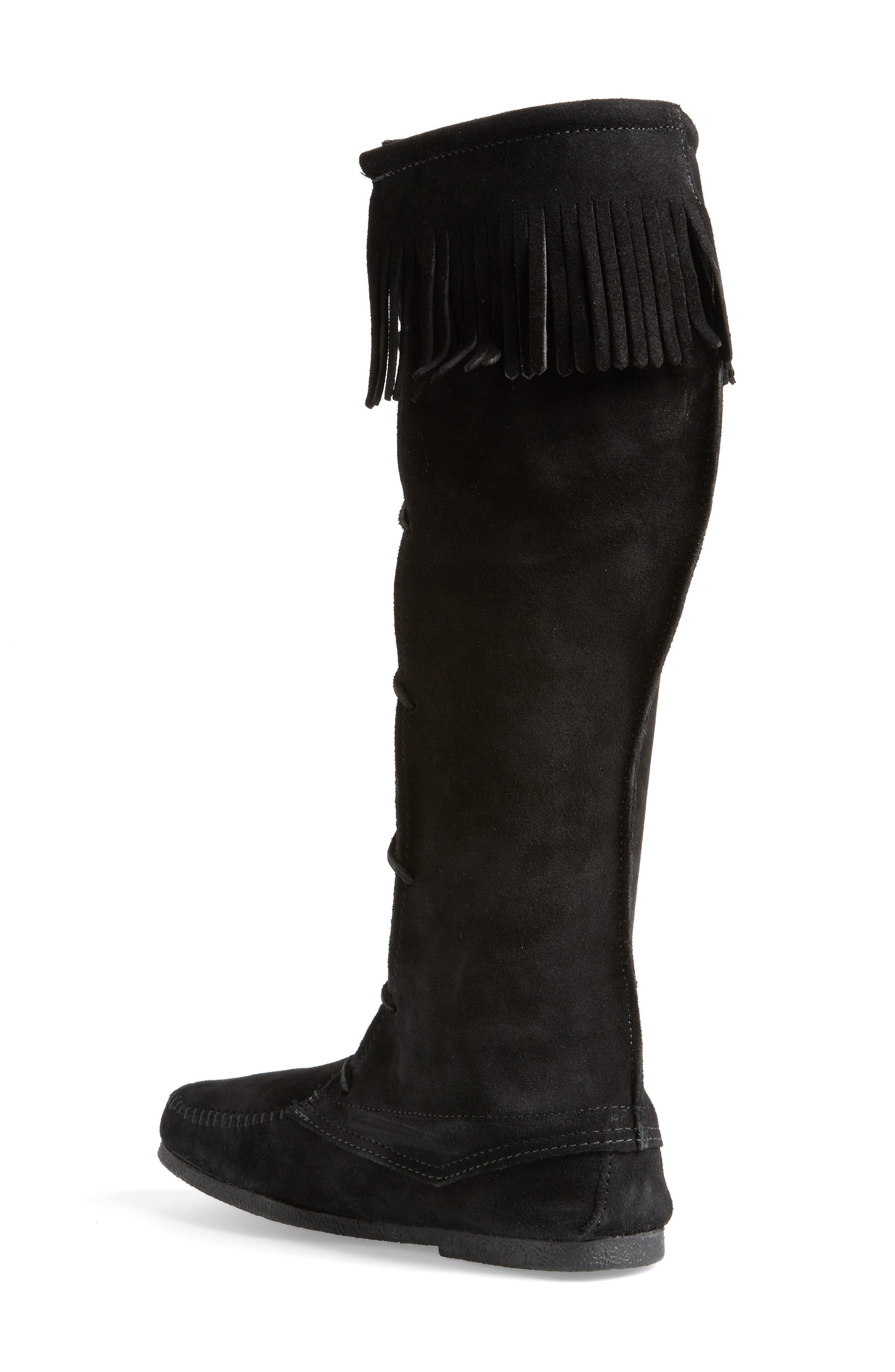 Knee High Moccasin Boot,                             Alternate thumbnail 2, color,                             BLACK SUEDE