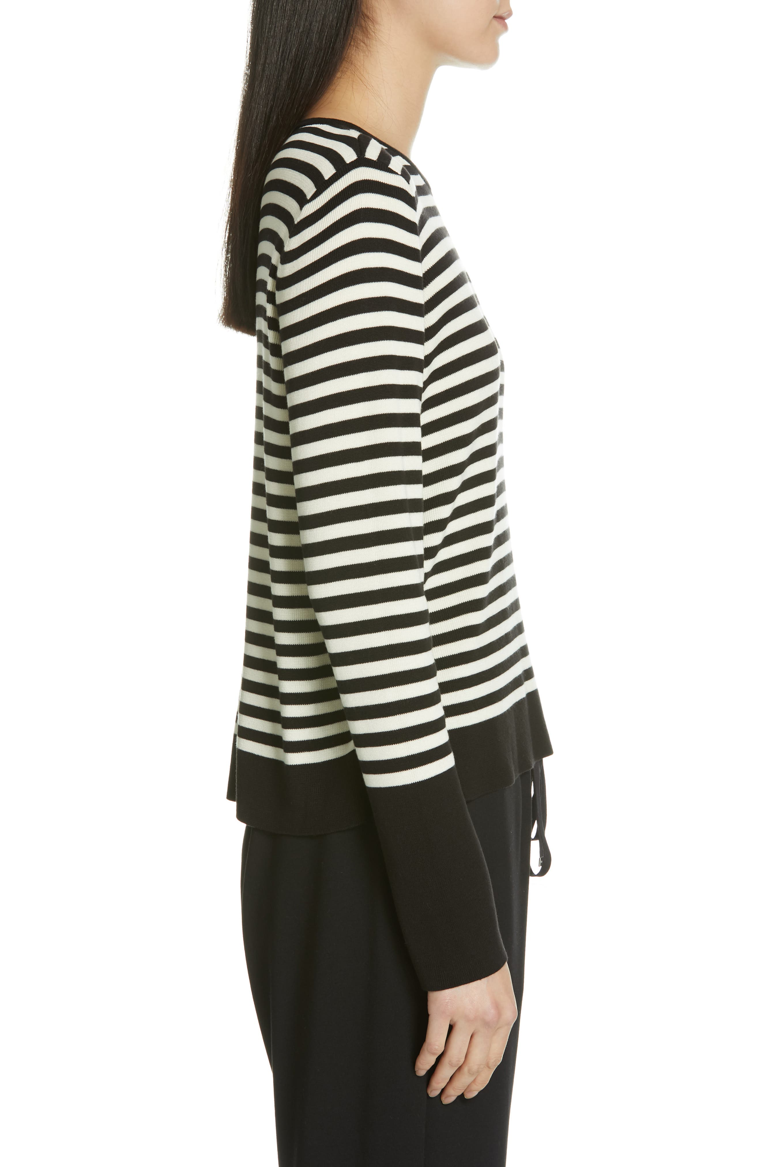 Tencel<sup>®</sup> Lyocell & Silk Sweater,                             Alternate thumbnail 3, color,                             BLACK/ SOFT WHITE