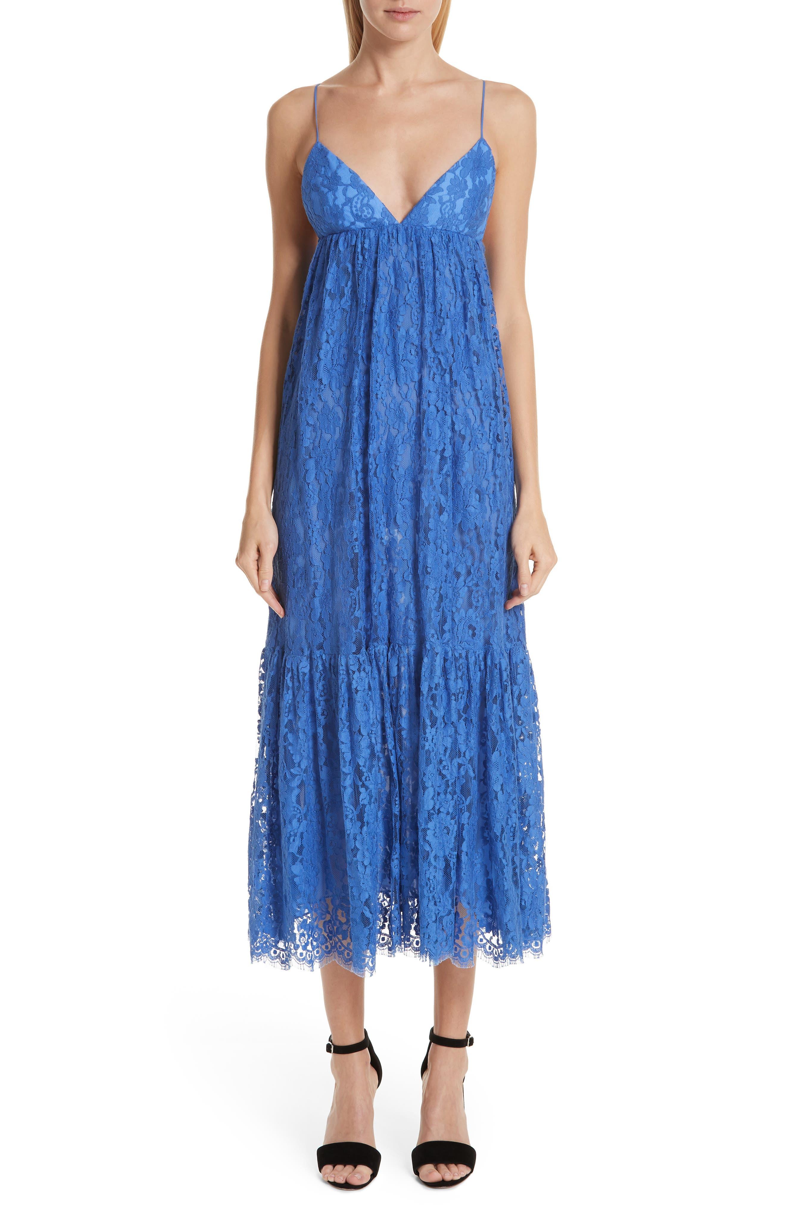 Michael Kors Tiered Lace Midi Dress, Blue