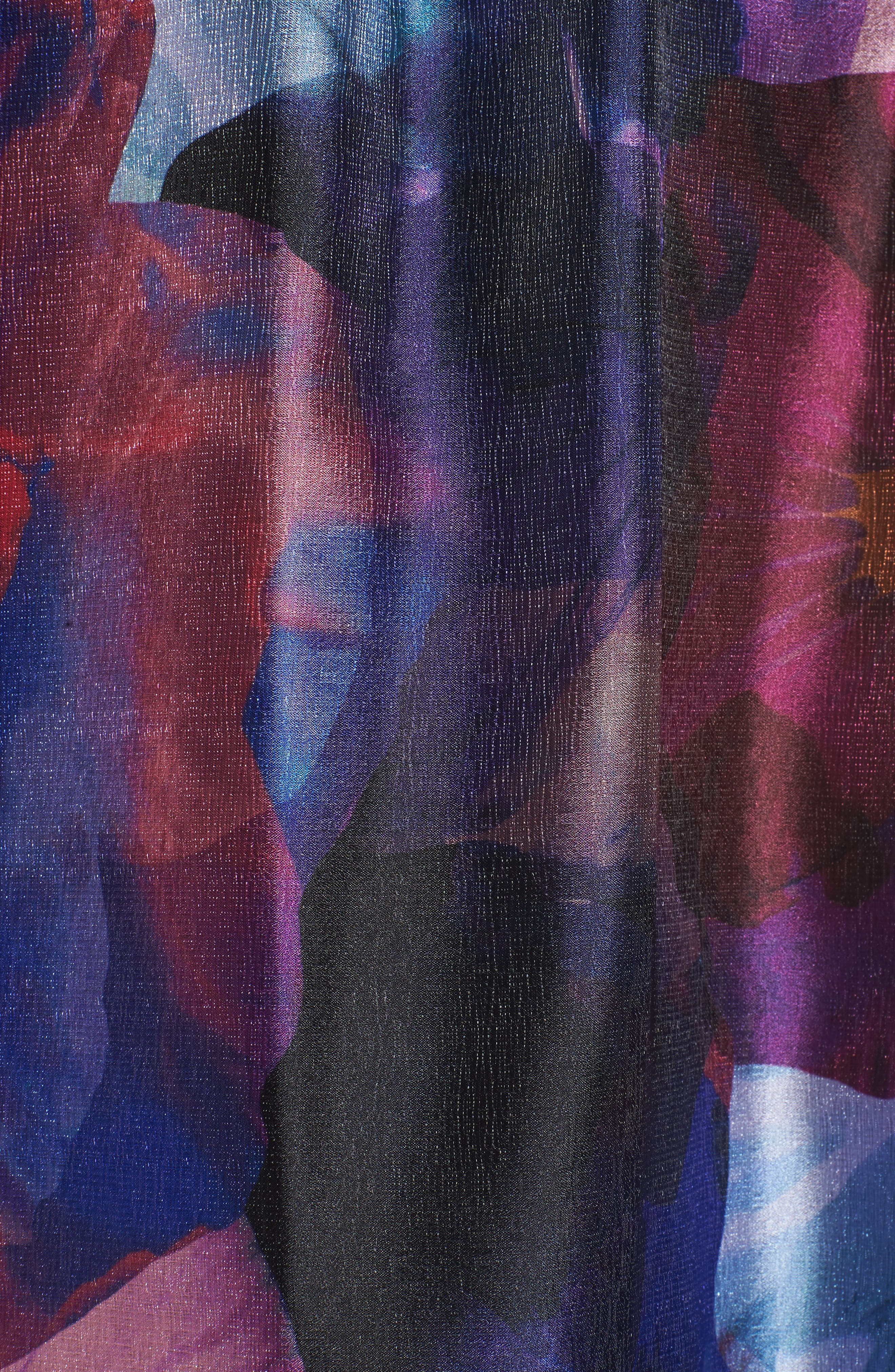 Floral Splash Mixed Media Maxi Dress,                             Alternate thumbnail 5, color,                             002