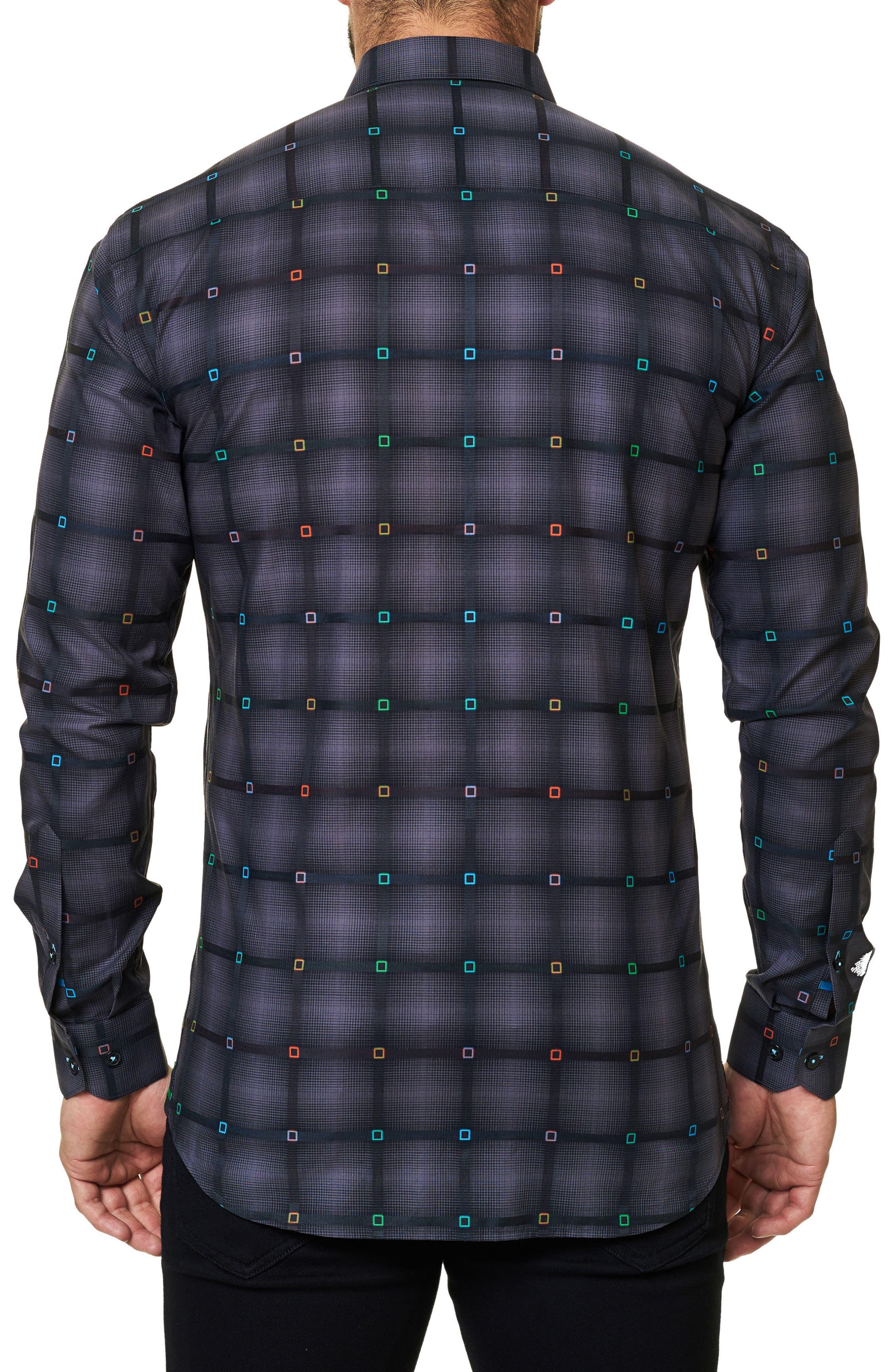 Trim Fit Grid Print Sport Shirt,                             Alternate thumbnail 2, color,                             002