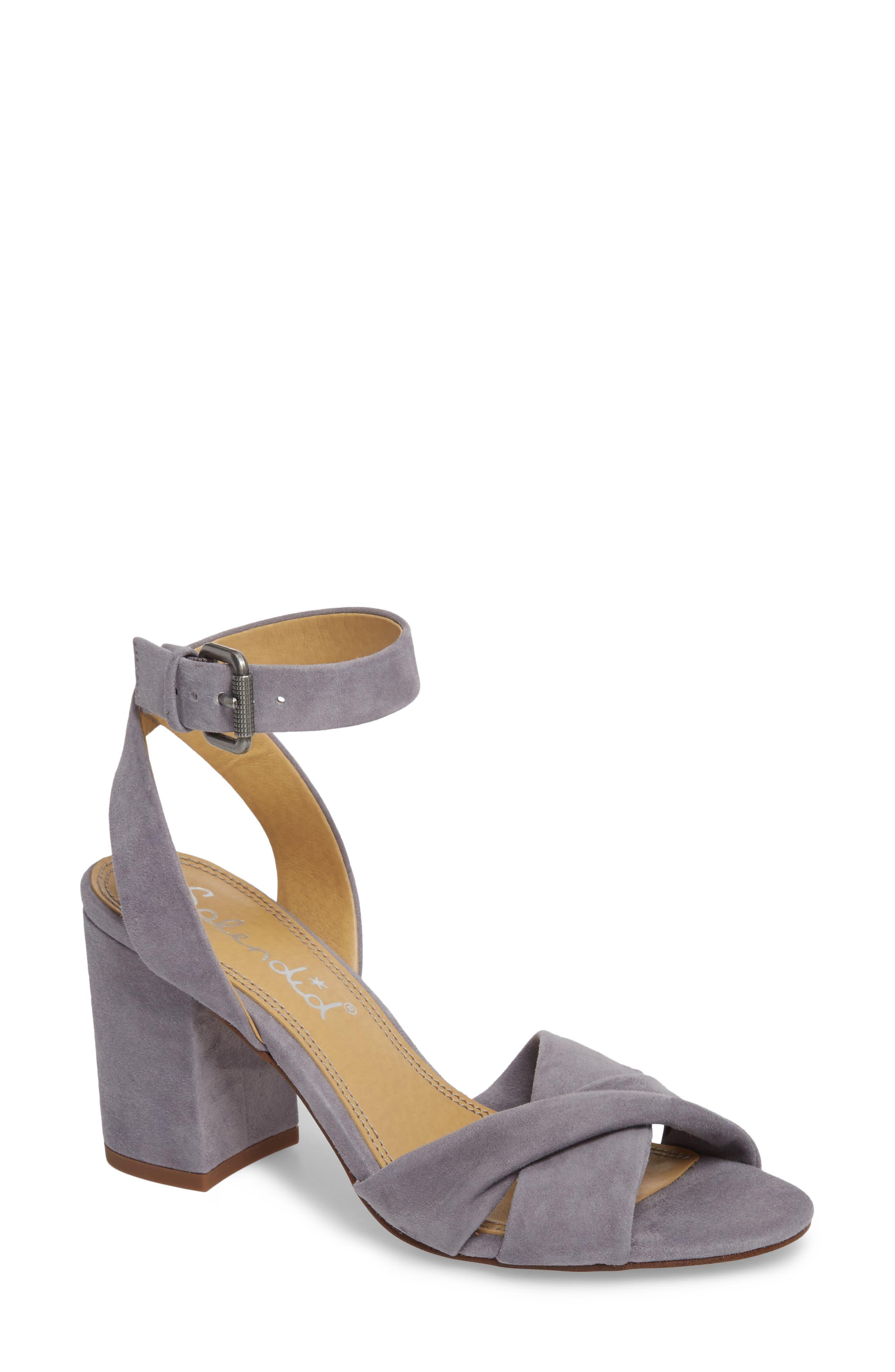 Fairy Block Heel Sandal,                             Main thumbnail 1, color,                             STEEL GREY SUEDE