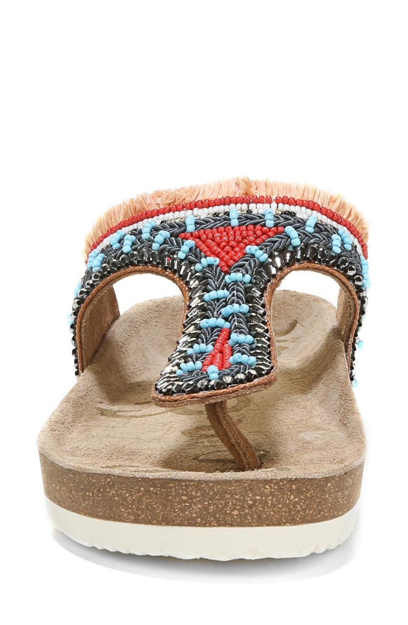 Olivie Beaded Flip Flop,                             Alternate thumbnail 4, color,                             SADDLE/ BLUE MULTI