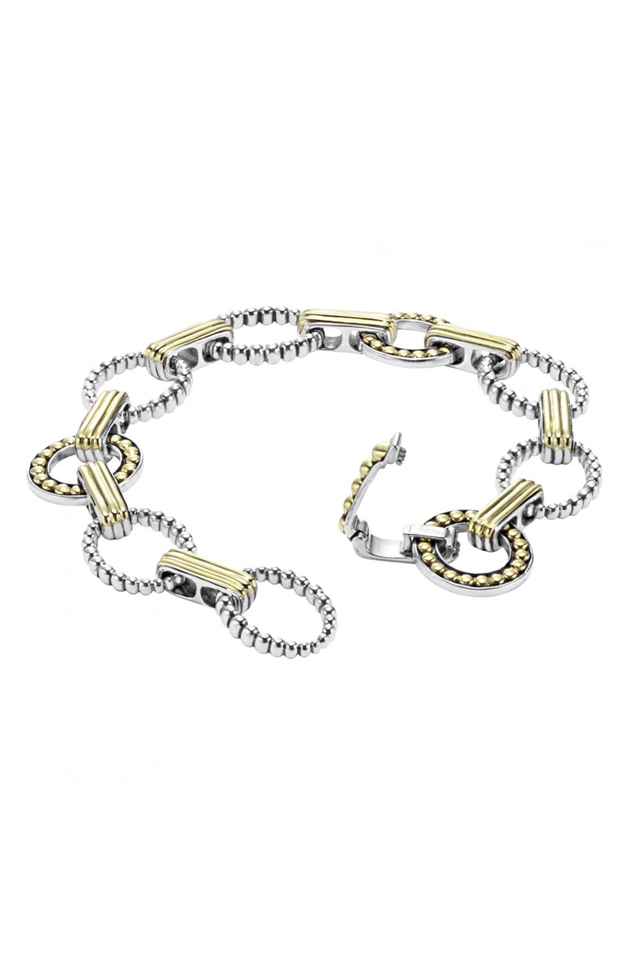 'Enso' Two-Tone Link Bracelet,                             Alternate thumbnail 4, color,                             040