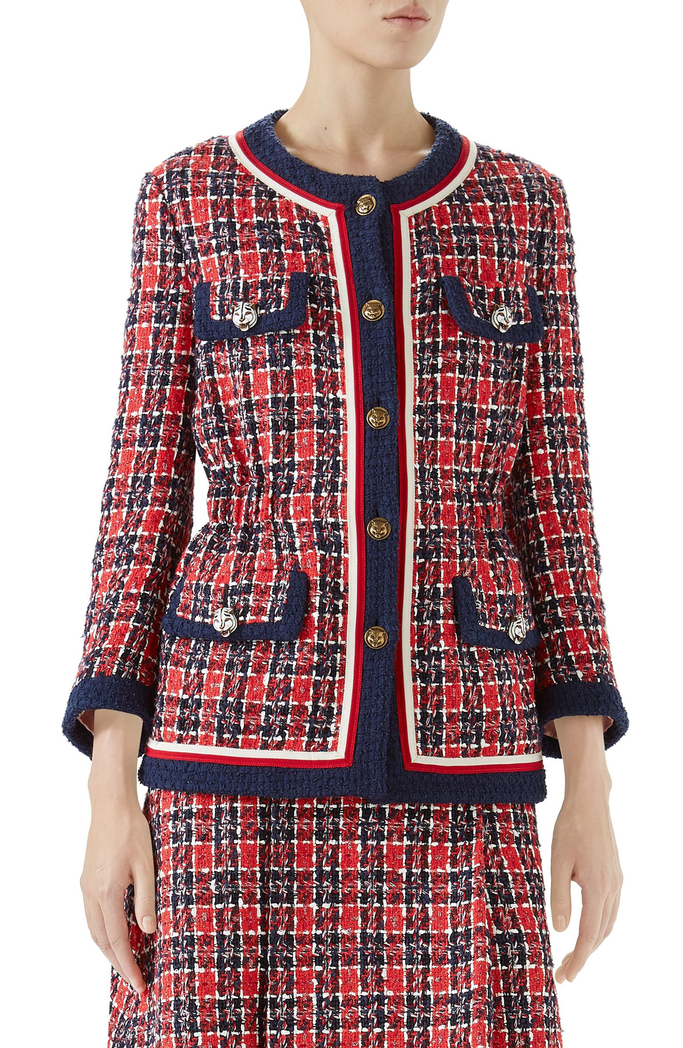 Cinch Waist Tweed Jacket,                             Main thumbnail 1, color,                             ROYAL BLUE/ RED