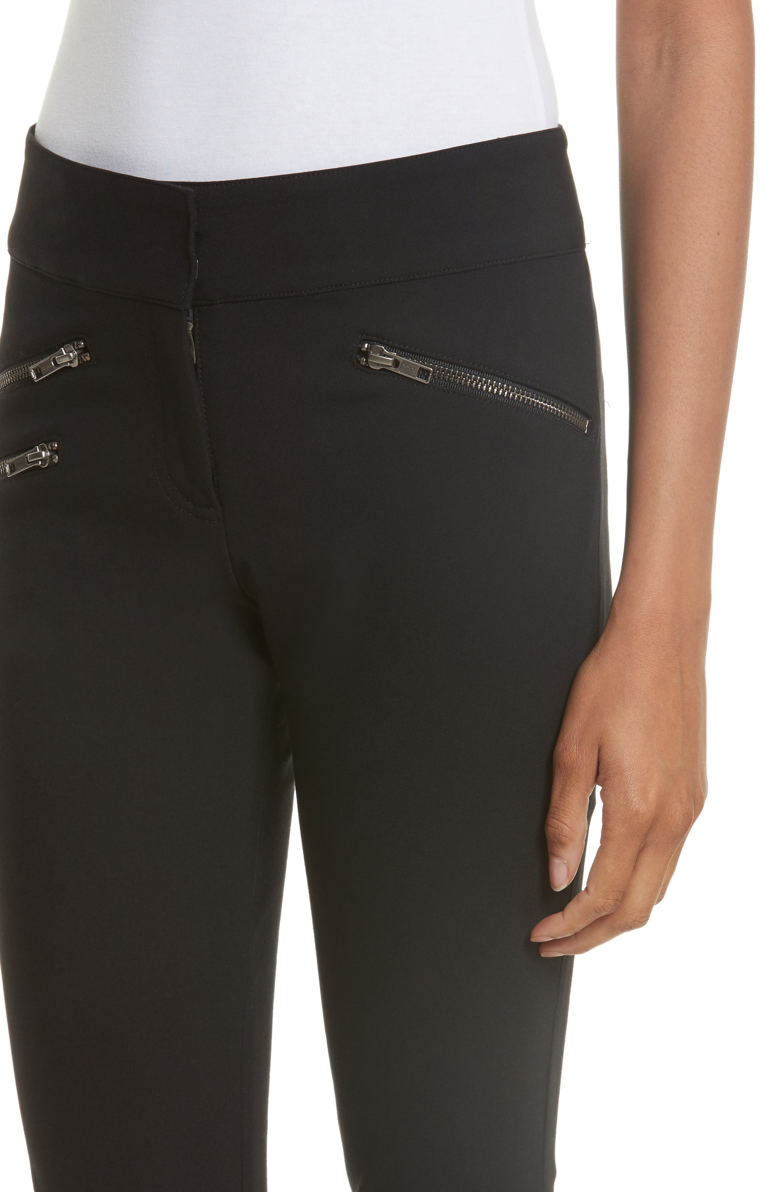 Adelaide Zipper Detail Crop Pants,                             Alternate thumbnail 4, color,                             001