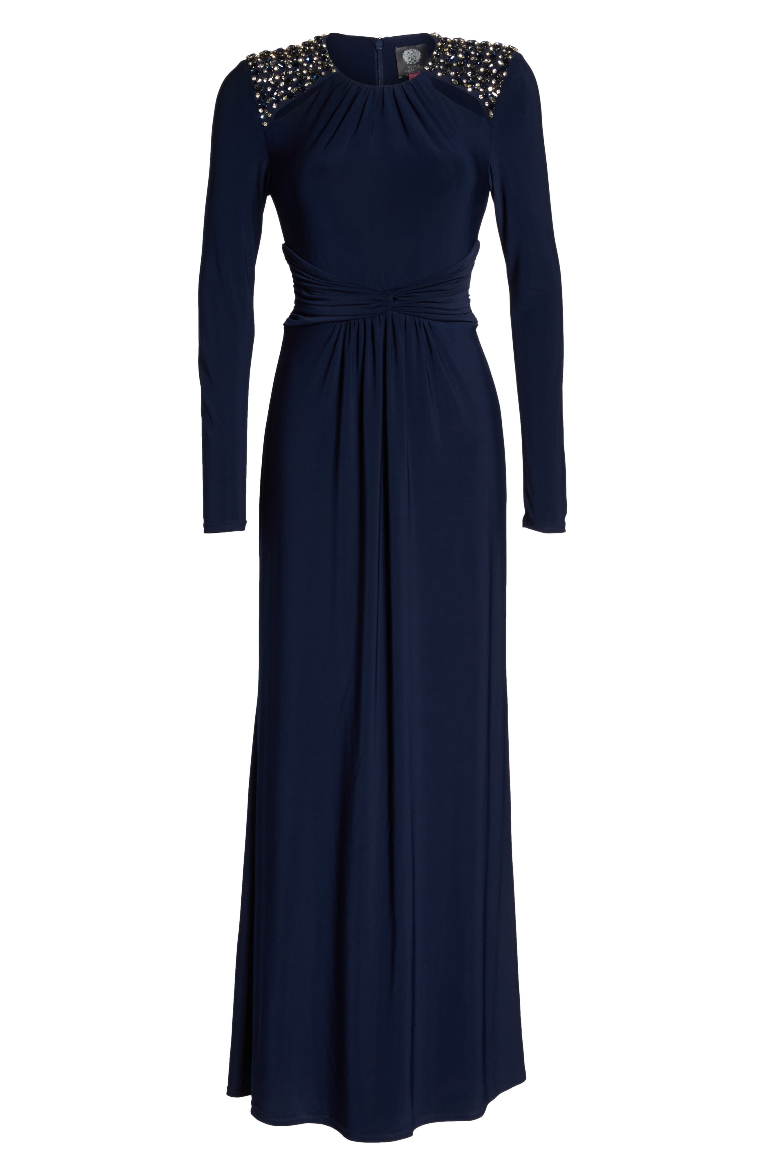 Embellished Ruched Waist Gown,                             Alternate thumbnail 6, color,                             410