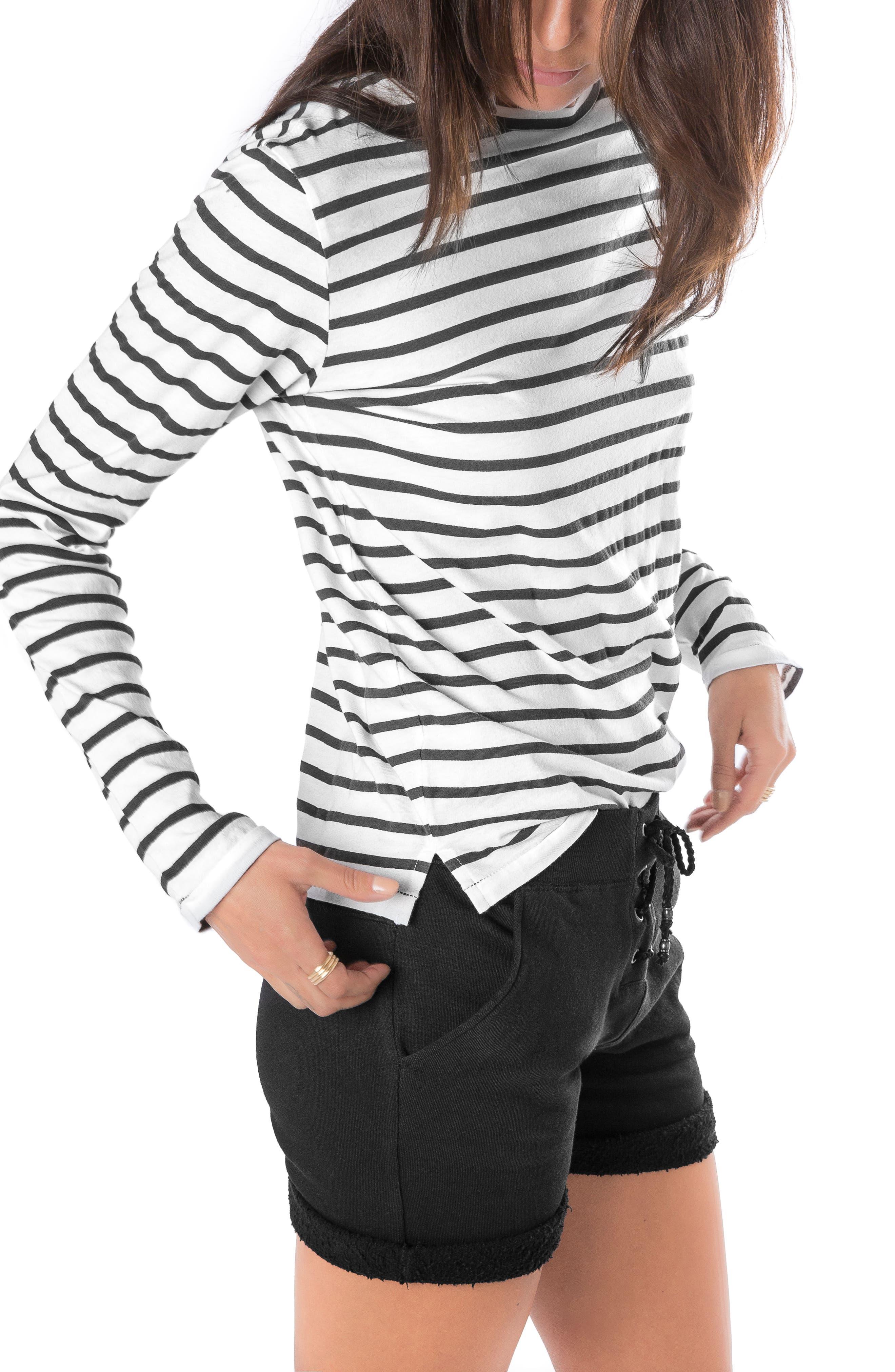 Stripe Long Sleeve Tee,                             Alternate thumbnail 3, color,                             100