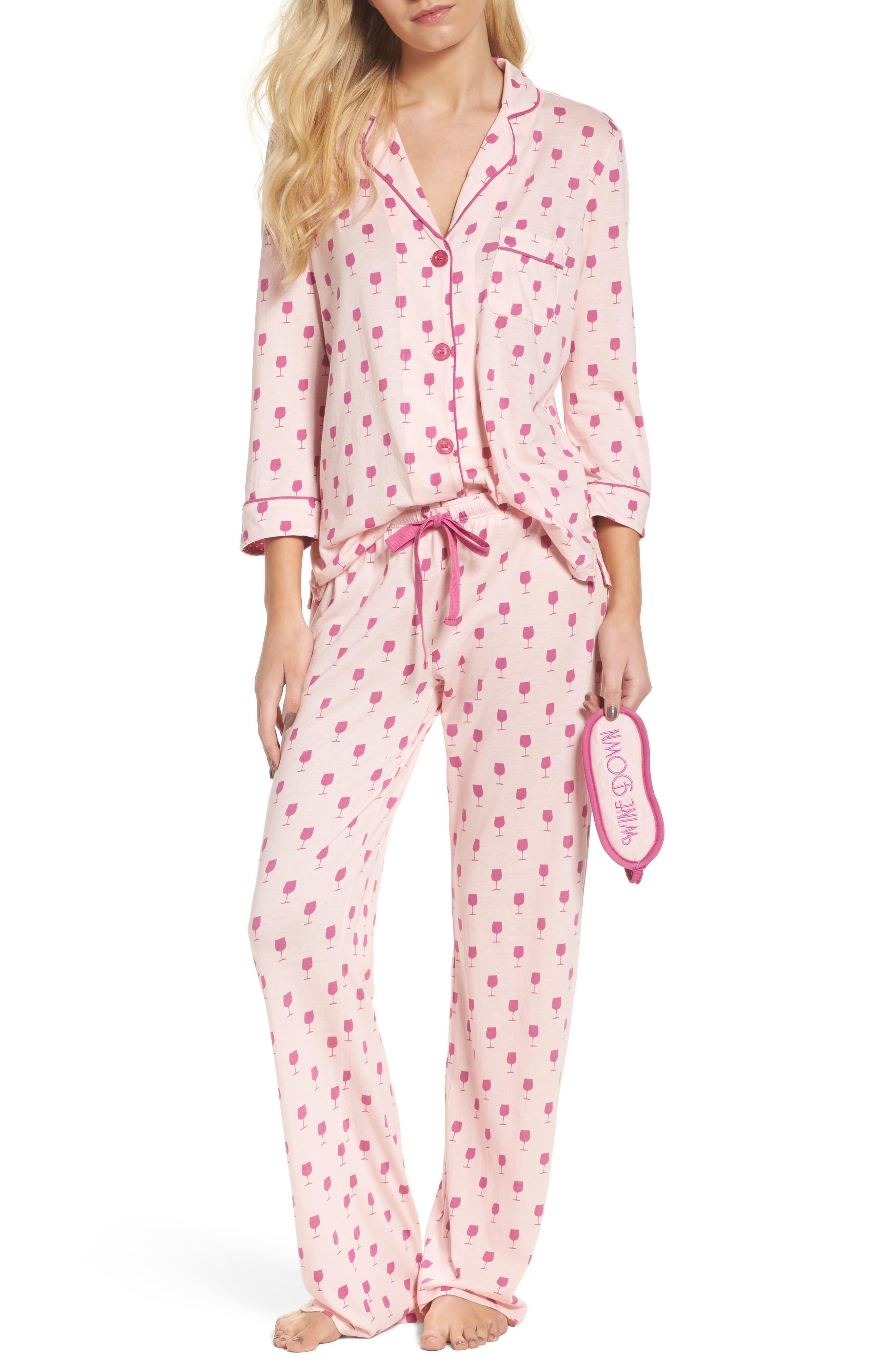 Playful Print Pajamas & Eye Mask,                             Alternate thumbnail 32, color,