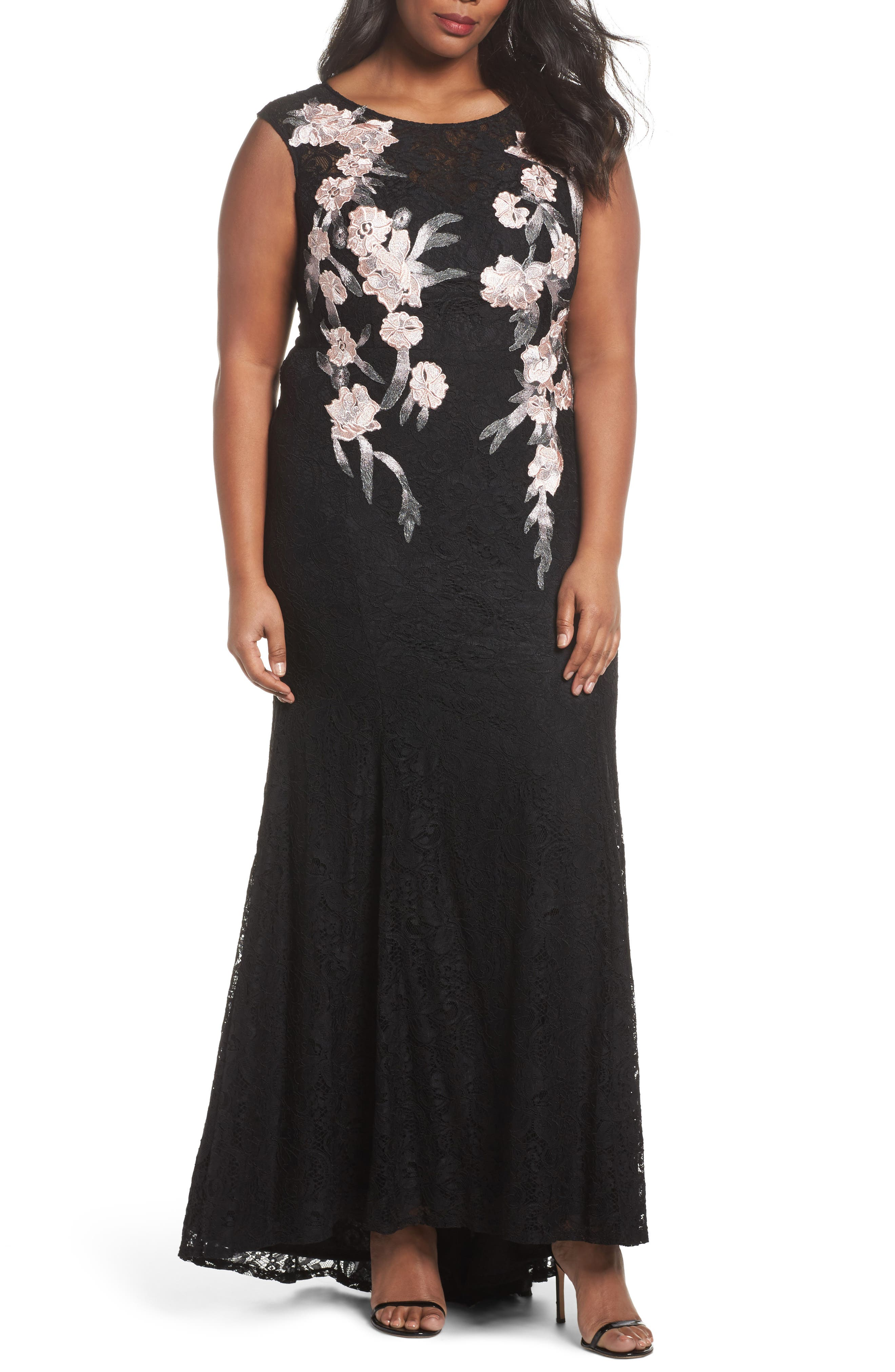 Floral Embroidered Lace Gown,                             Main thumbnail 1, color,                             BLACK/ BLUSH